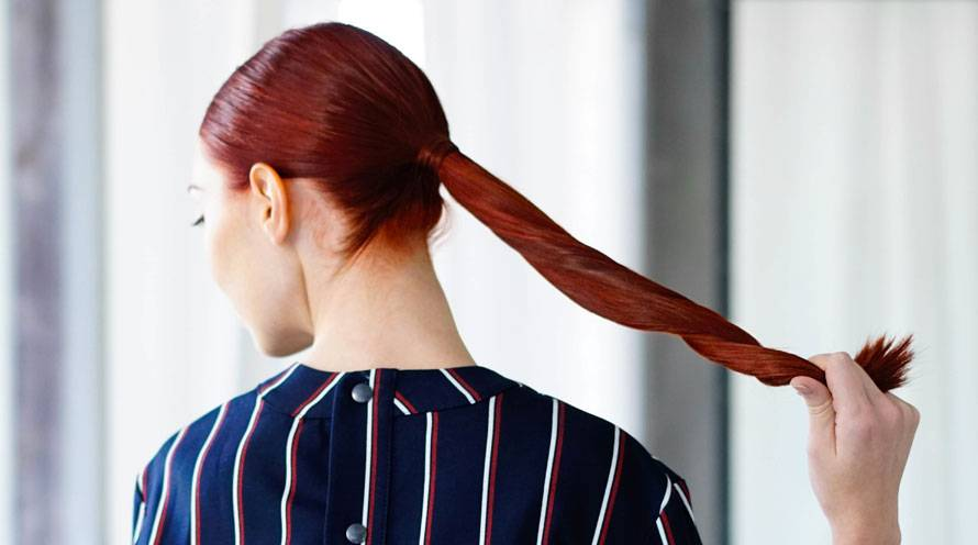 Garnier Hair Color Long Red Hair in Pony Tail with Red Highlights
