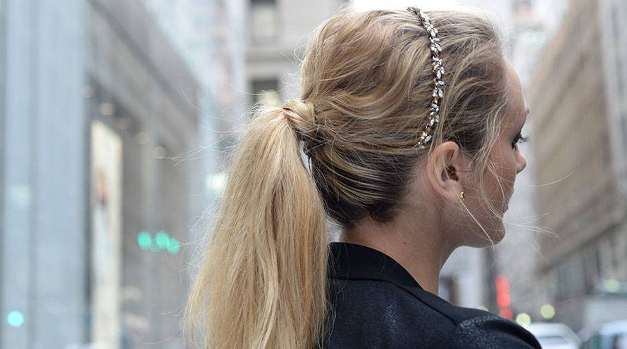 Garnier long hairstyles for women ponytail with headband