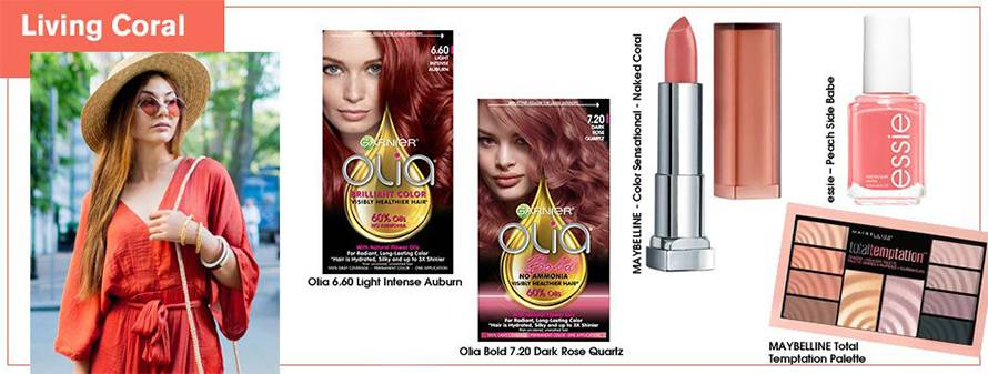 Red-haired girl in a hat, red sunglasses, and a red jum+psuit, next to the Olia 7.20 Dark Rose Quartz and Olia 6.60 Light Intense Auburn permanent hair colors, next to the Color Sensation Inti-Matte Nudes lip color in Naked Coral, the Essie Peach Side Babe nail polish, and the Maybelline Total Temptation Eyeshadow + Highlight Palette.