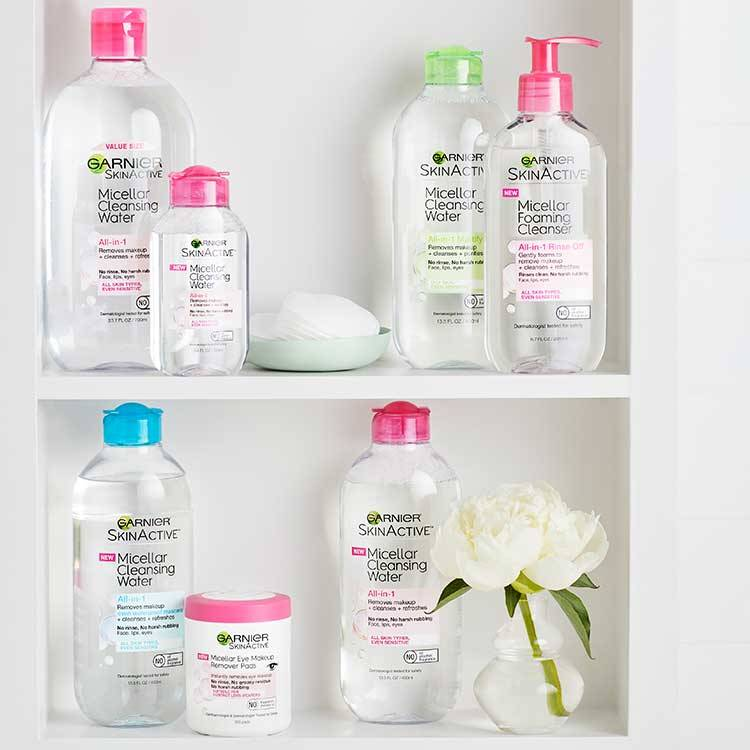 Garnier SkinActive Micellar Cleansing Water Family on Shelf