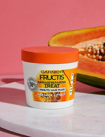 Garnier Fructis Damage Repairing Treat 1 Minute Hair Mask + Papaya Extract with ingredient