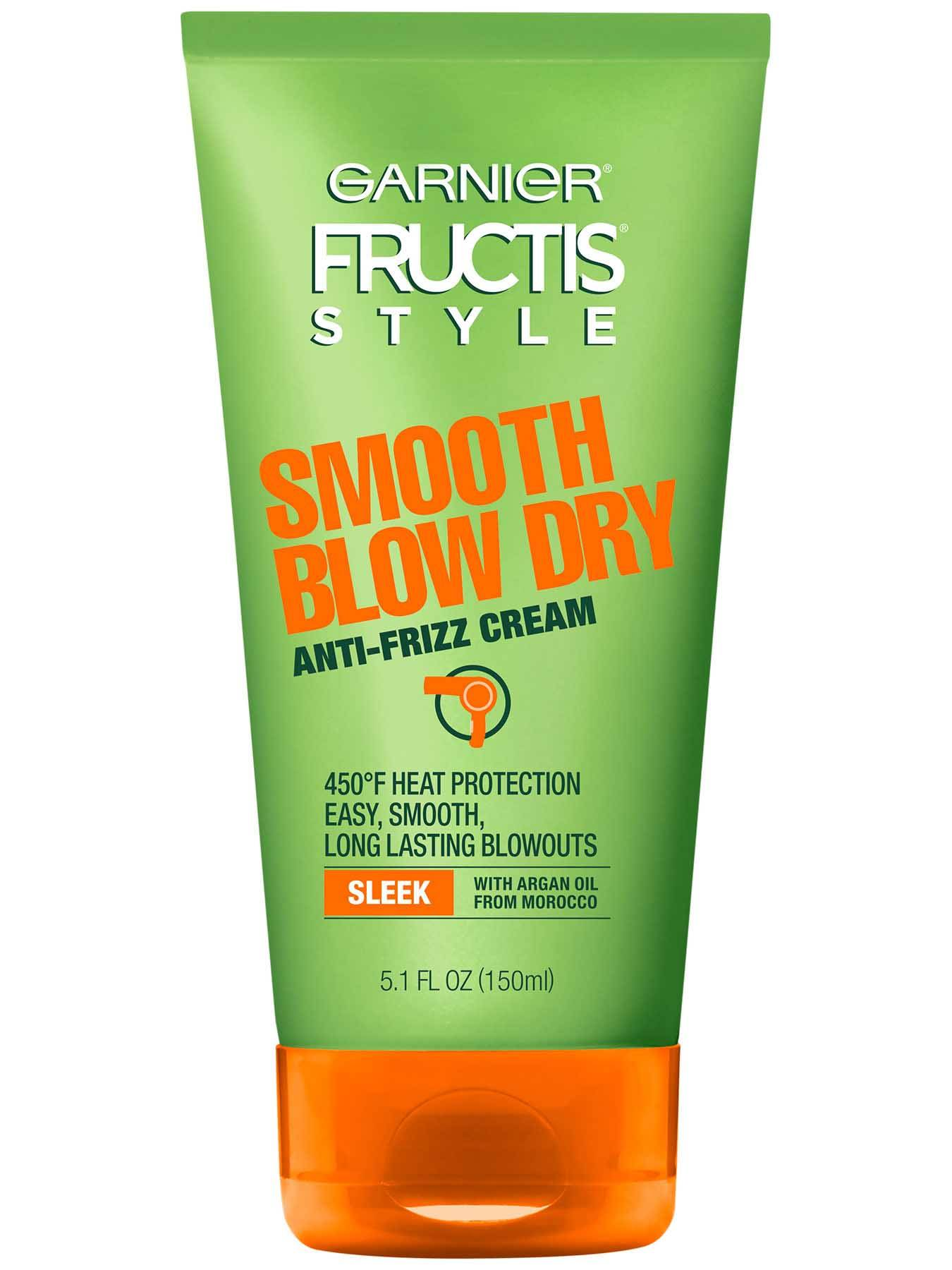 Garnier Fructis Style Sleek & Shine Blow Dry Anti-Free Cream 5.1 oz - Hair Style for Frizzy Hair