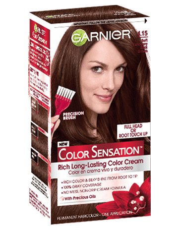 Garnier Color Sensation 4.15 - Soft Mahogany Dark Brown Permanent Hair Color