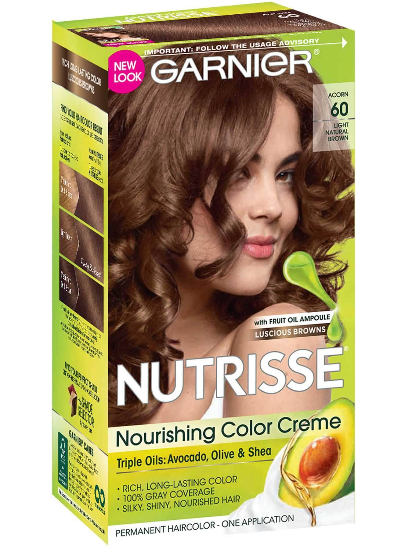 Garnier Nutrisse Nourishing Color Creme 60 - Light Natural Brown (Acorn) Permanent Hair Color