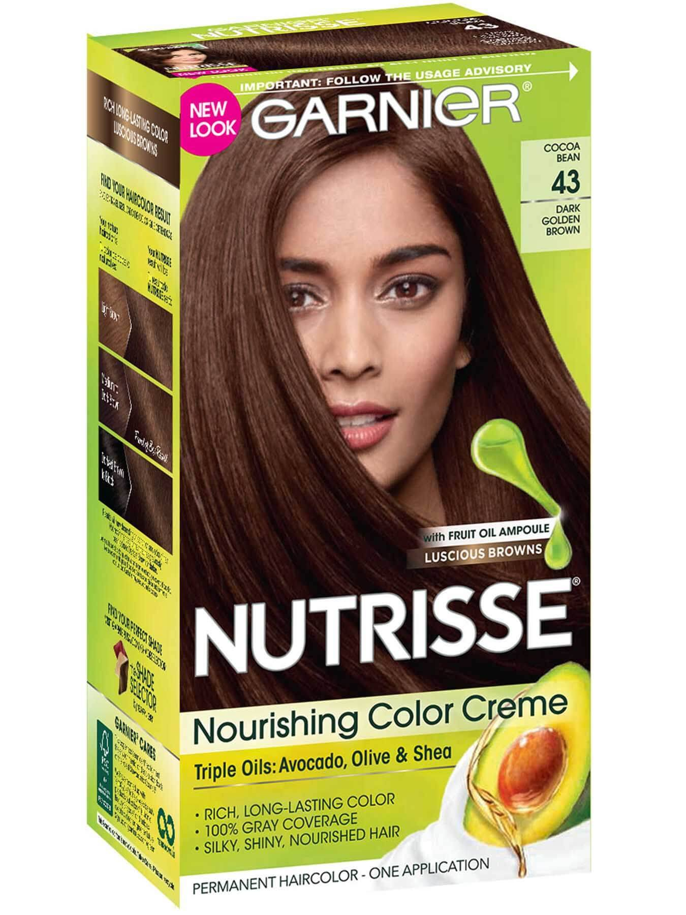 Garnier Nutrisse Nourishing Color Creme 43 - Dark Golden Brown (Cocoa Bean) Permanent Hair Color