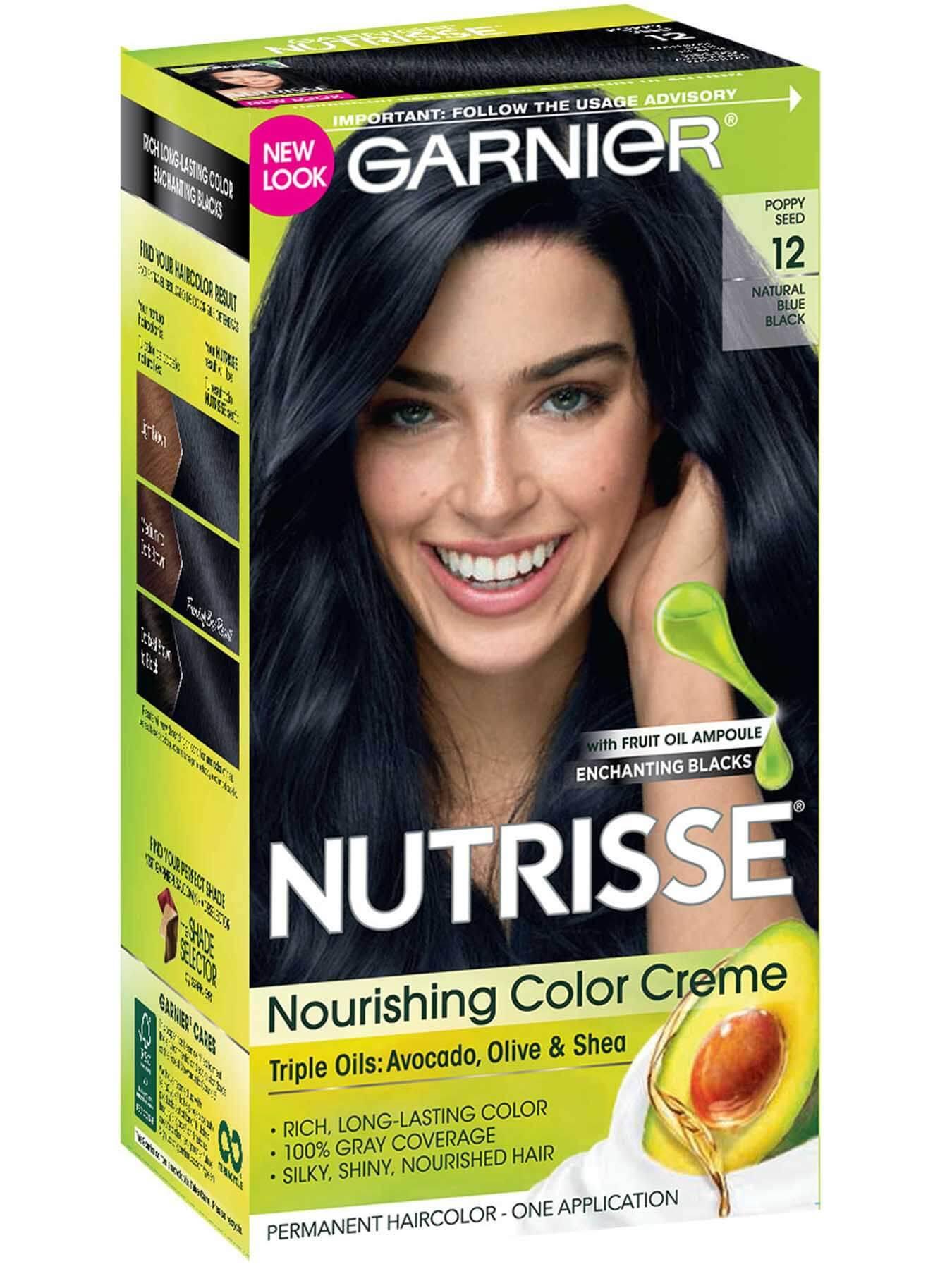 Nourishing Color Creme 12 Natural Blue Black Hair Color Garnier