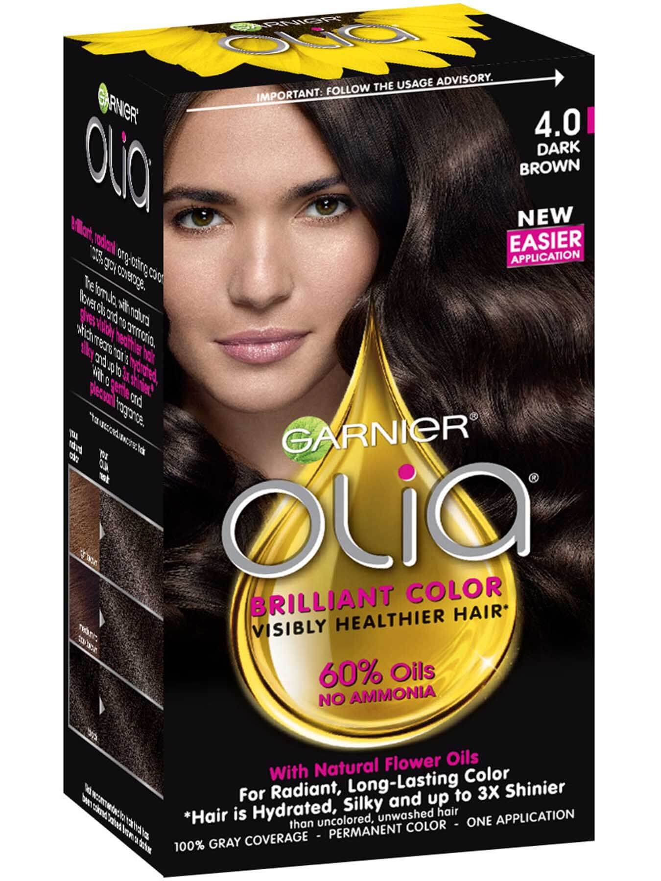 Olia Ammonia Free Permanent Hair Color Dark Brown Garnier