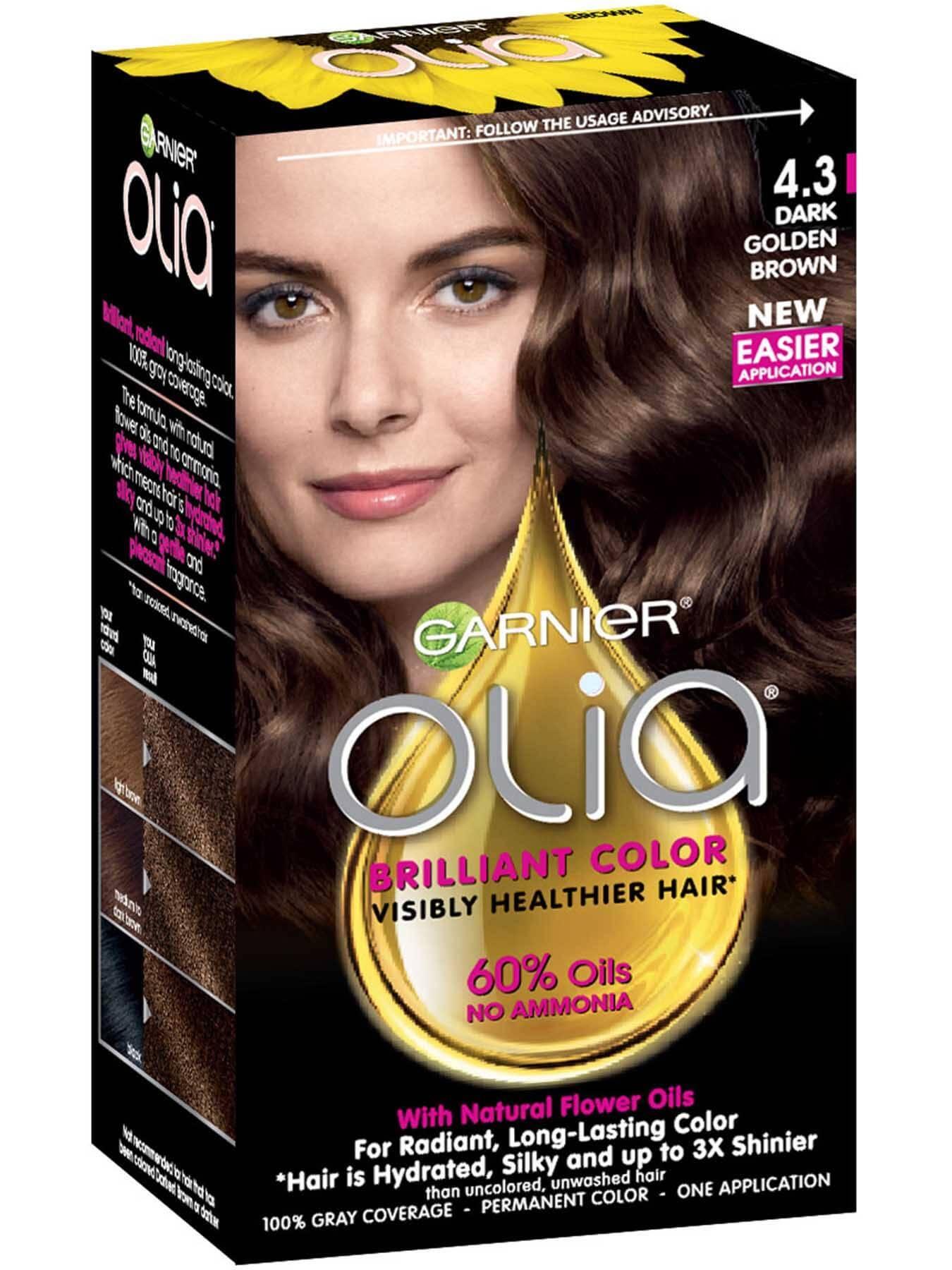 Olia Ammonia Free Permanent Dark Golden Brown Hair Color Garnier