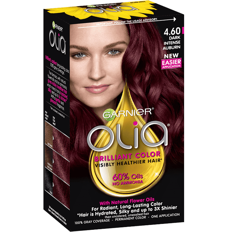 Olia Ammonia Free Permanent Dark Intense Auburn Hair Color Garnier