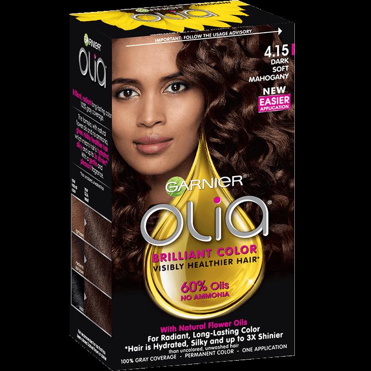 Olia Ammonia Free Permanent Dark Soft Mahogany Hair Color Garnier