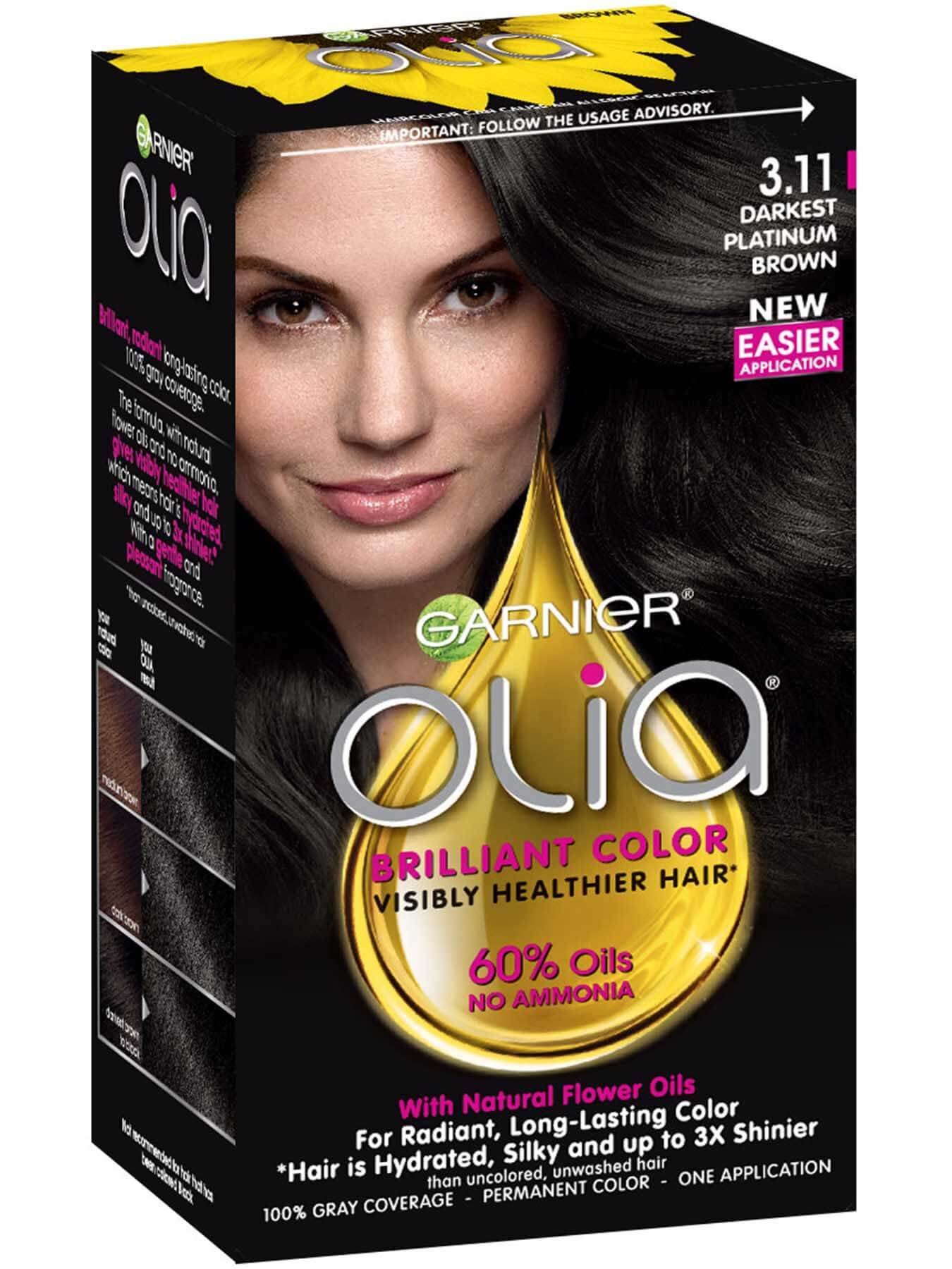 Garnier Olia hair Color 3.11 - Product for Darkest Platinum Brown for radiant, long-lasting hair color