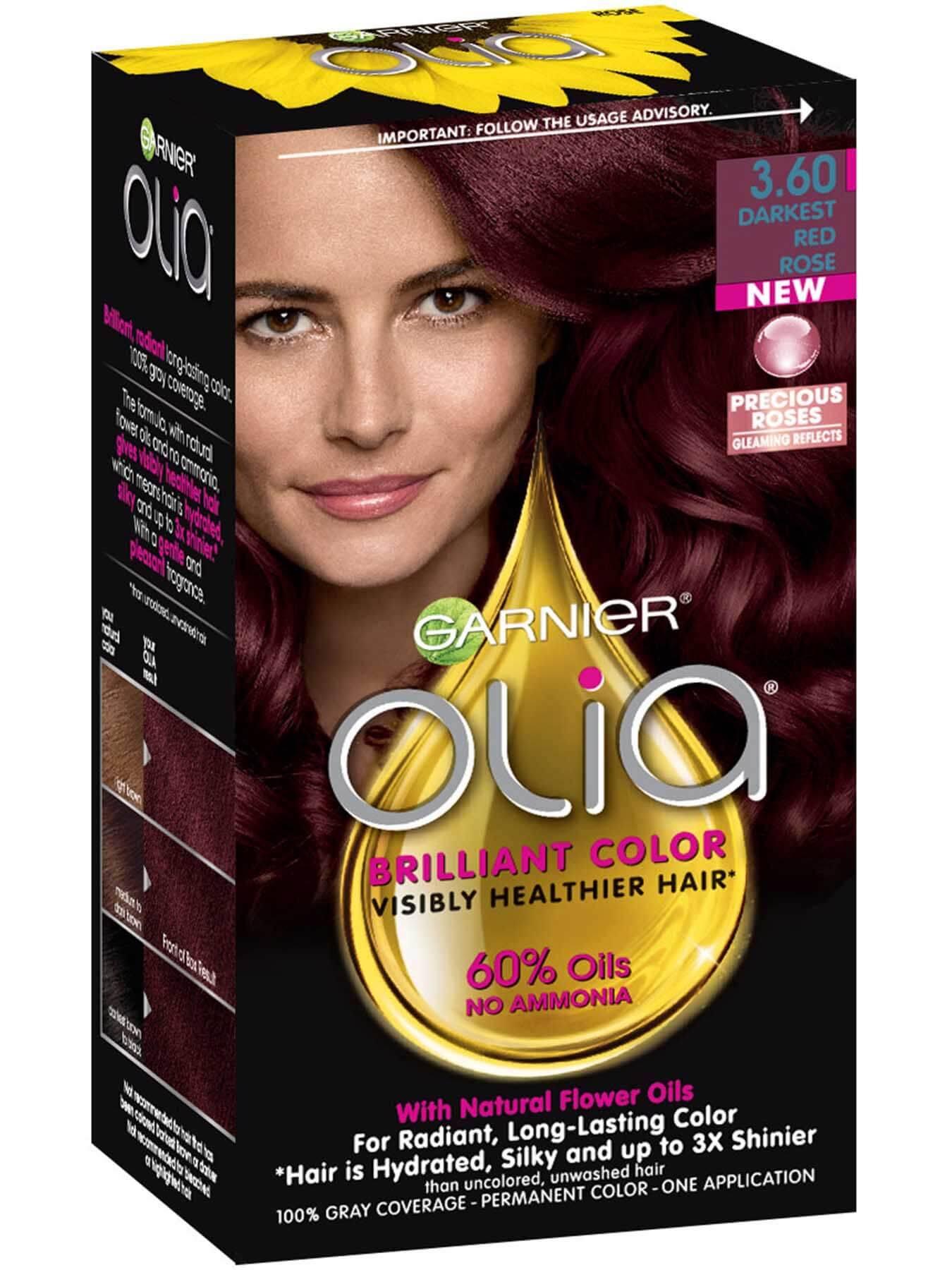 Olia Darkest Red Rose Hair Color Ammonia Free Hair Dye Garnier