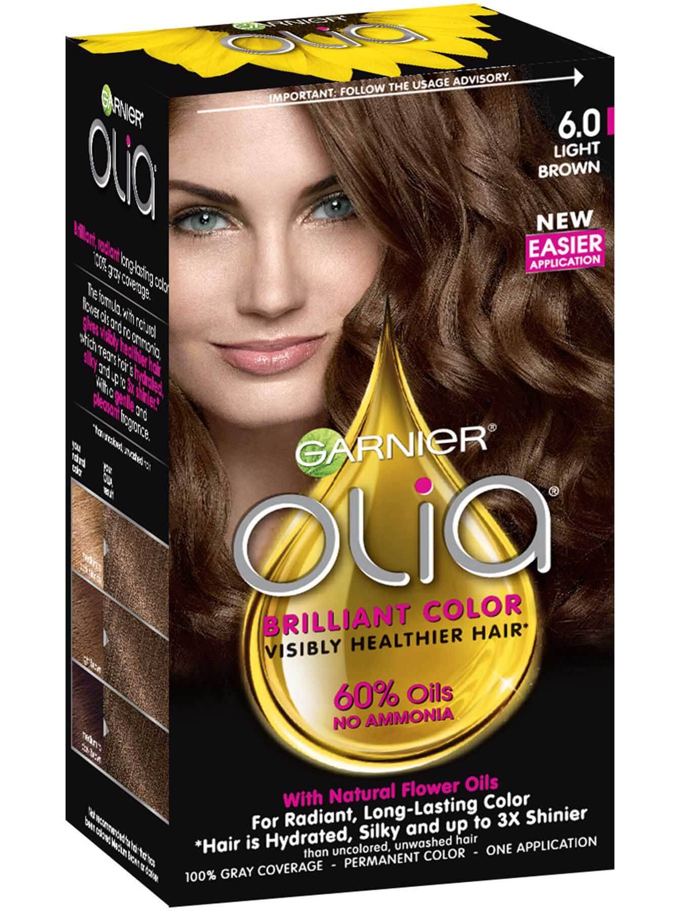 Olia Ammonia Free Permanent Hair Color Light Brown Garnier