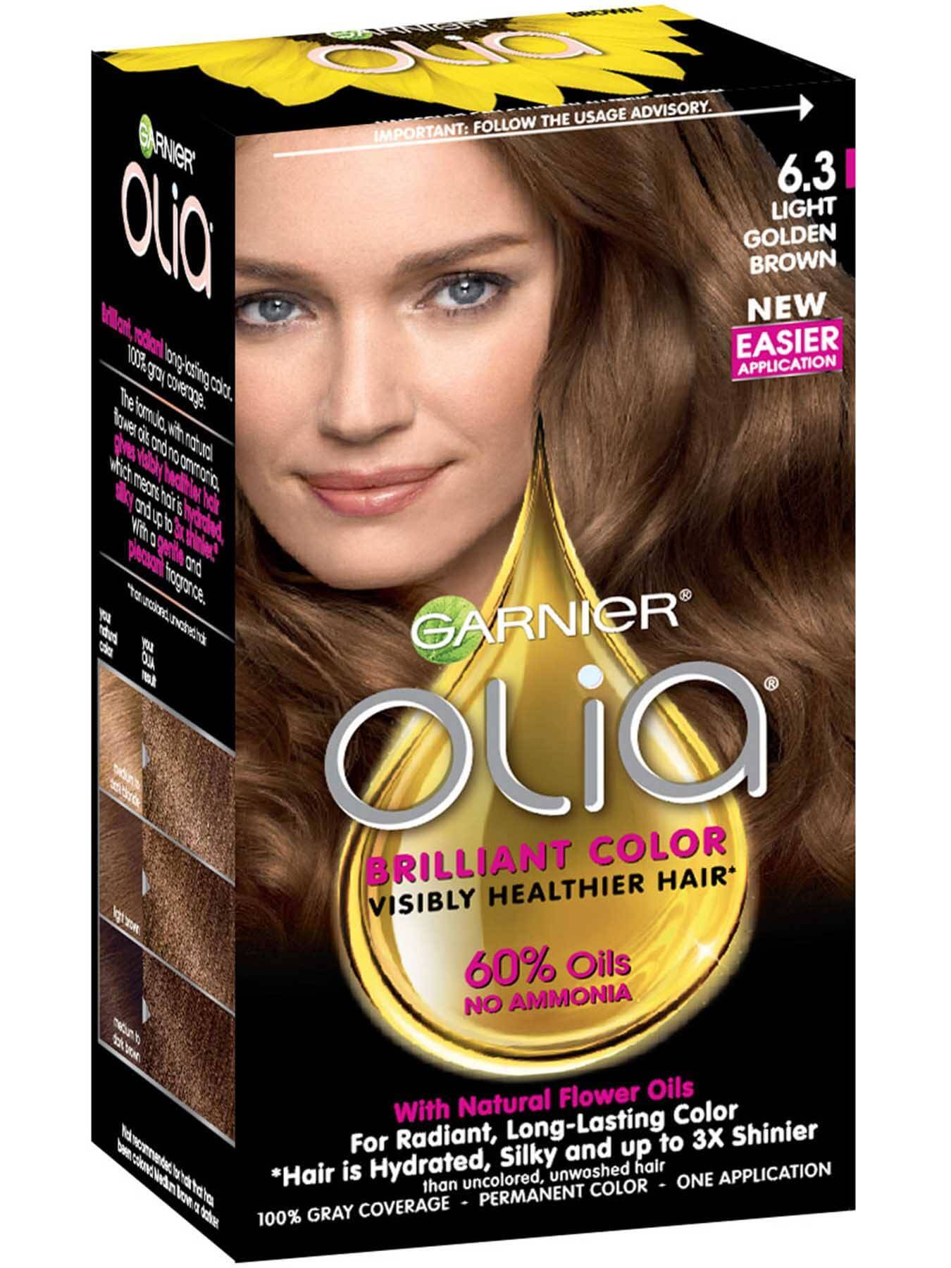 Garnier Olia hair color productshot 6-3 light golden brown shade P0190 packshot