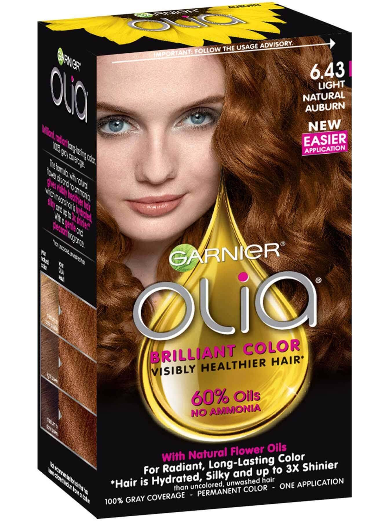 Olia Ammonia Free Light Natural Auburn Hair Color Garnier