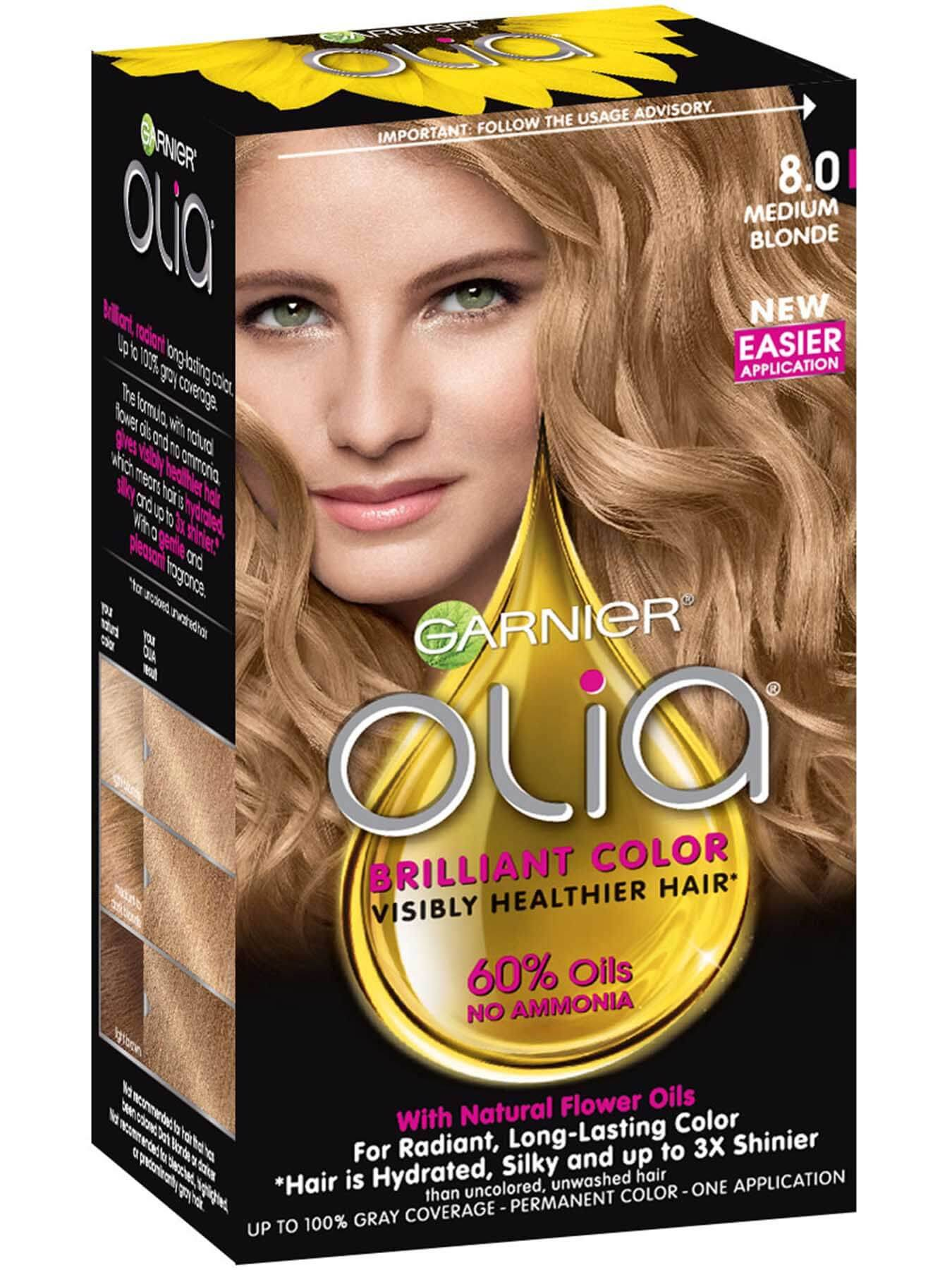 Olia Ammonia Free Permanent Hair Color Medium Blonde Garnier