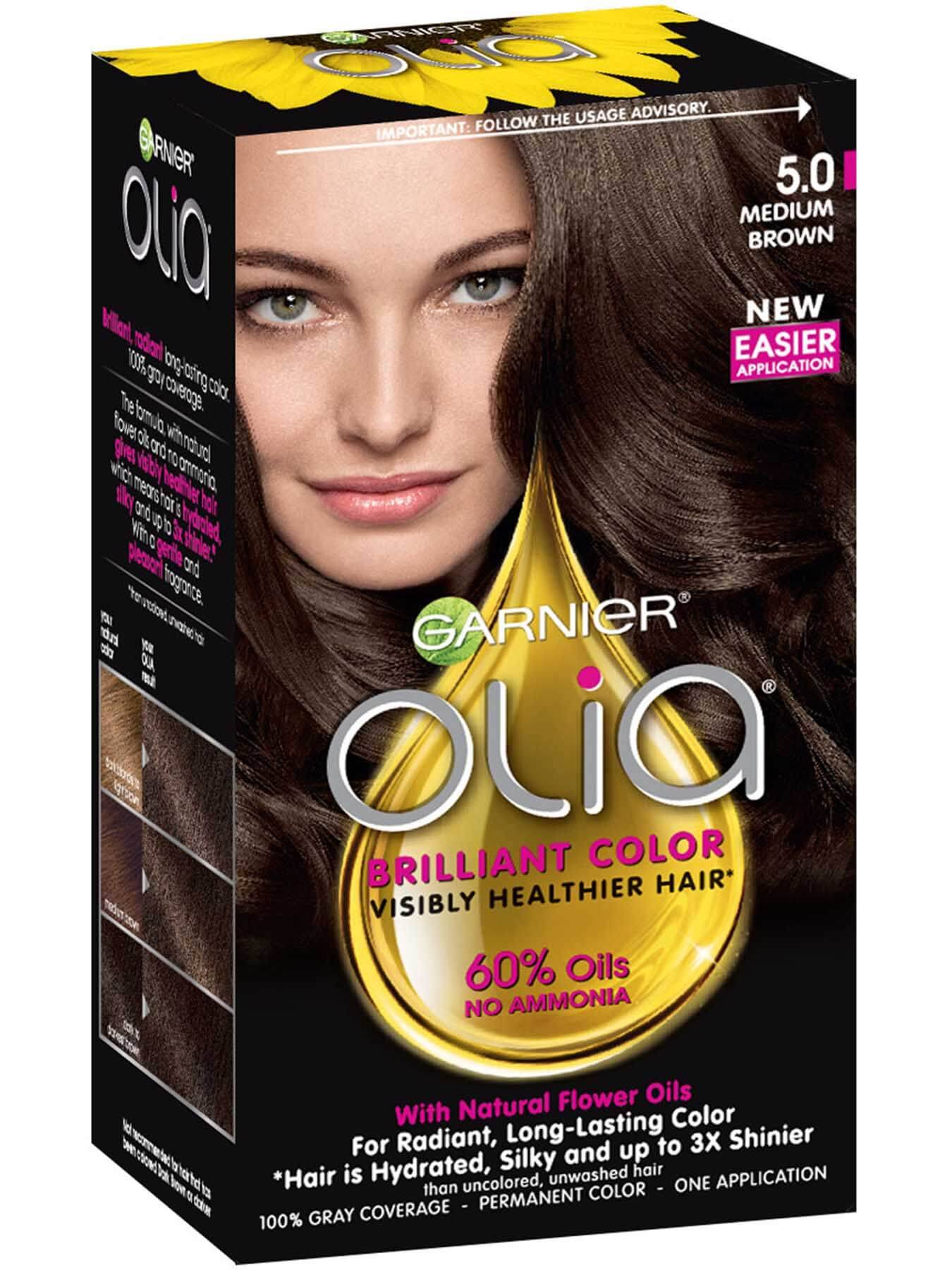 Olia Ammonia Free Permanent Hair Color Medium Brown Garnier