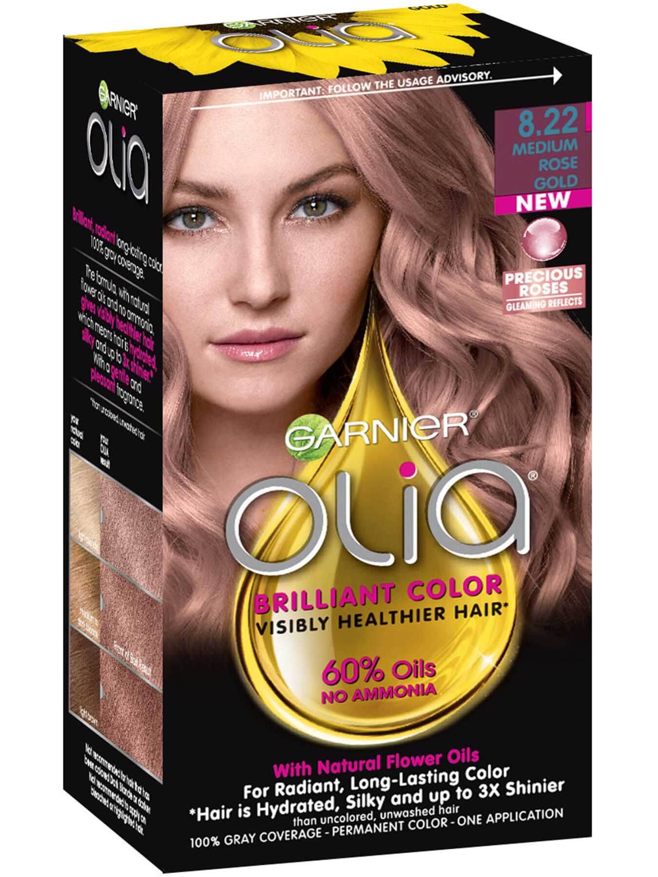 Olia Medium Rose Gold Hair Color Ammonia Free Hair Dye Garnier