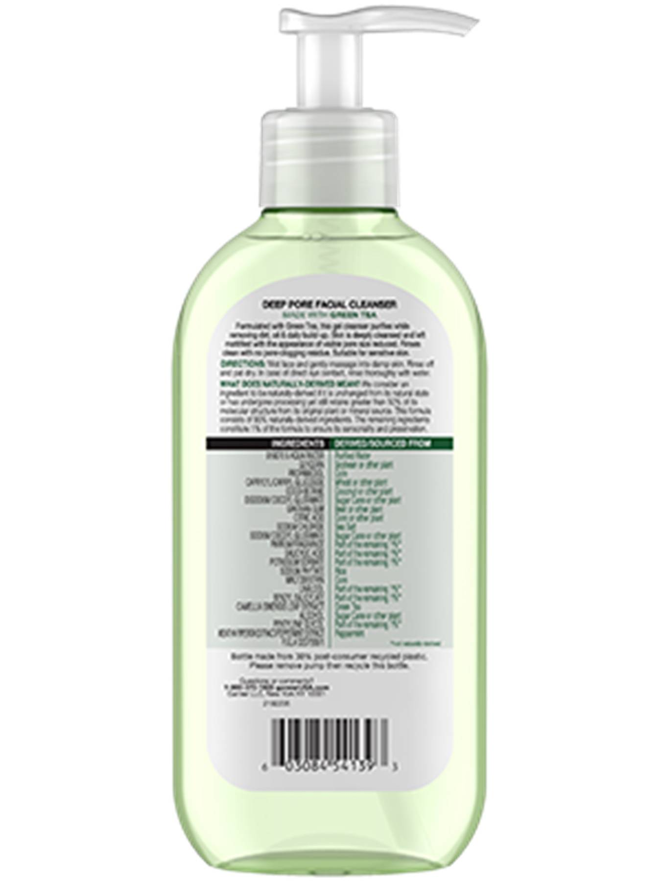 Back view of SkinActive Deep Pore Face Wash with Green Tea.