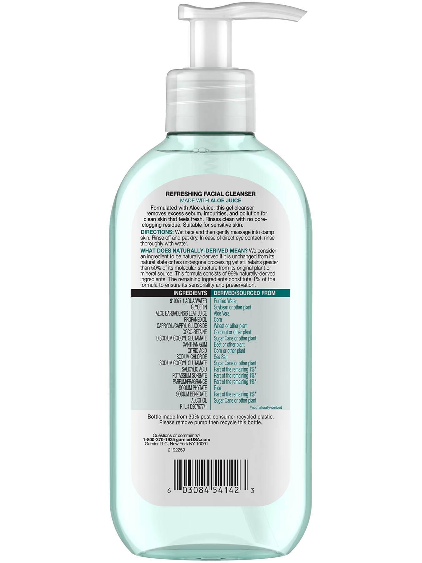 Garnier SkinActive Refreshing Facial Wash with Aloe 96 Percent Naturally Derived Ingredients