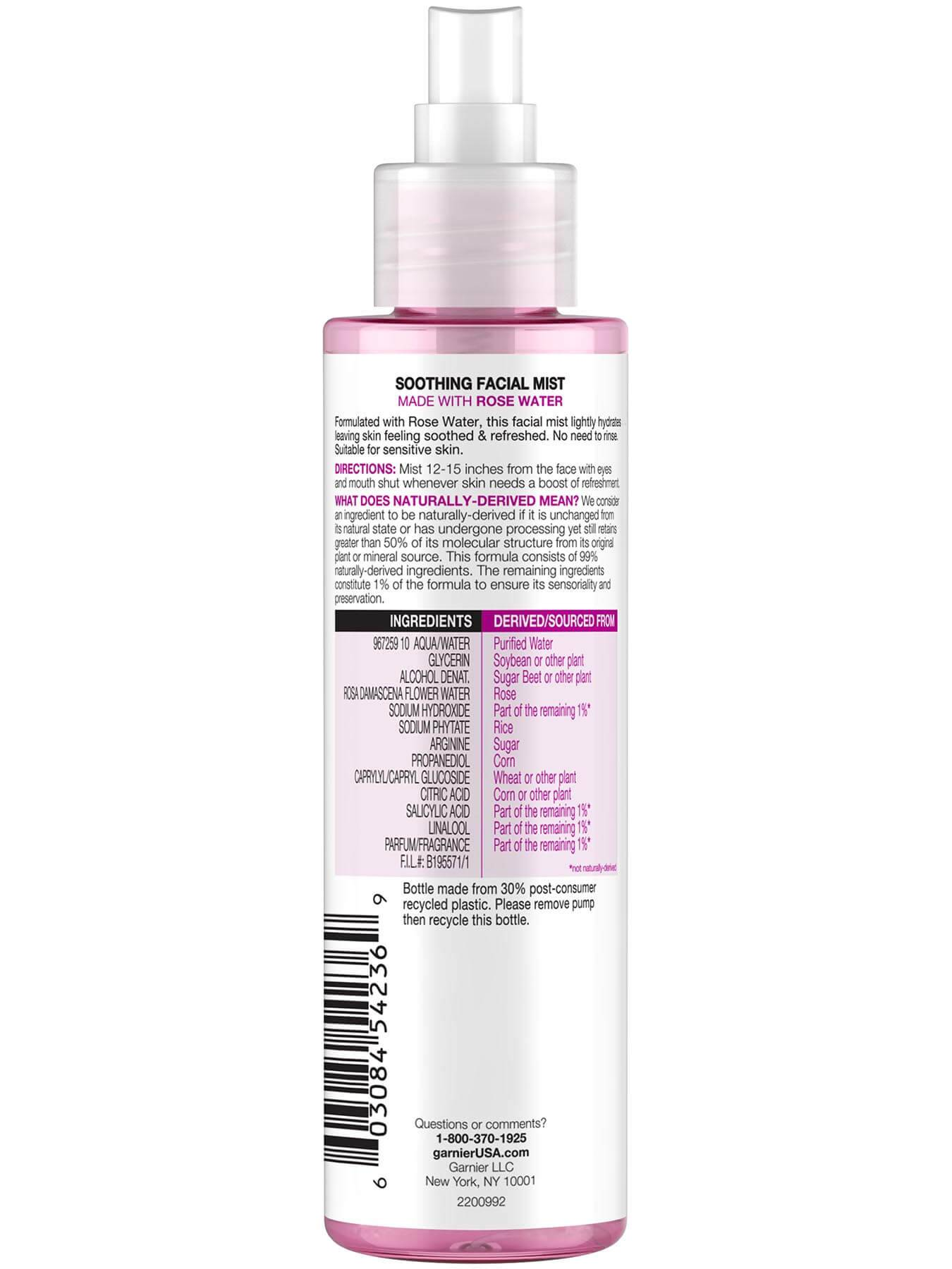 Garnier SkinActive Soothing Facial Mist with Rose Water 96 Percent Naturally Derived Ingredients