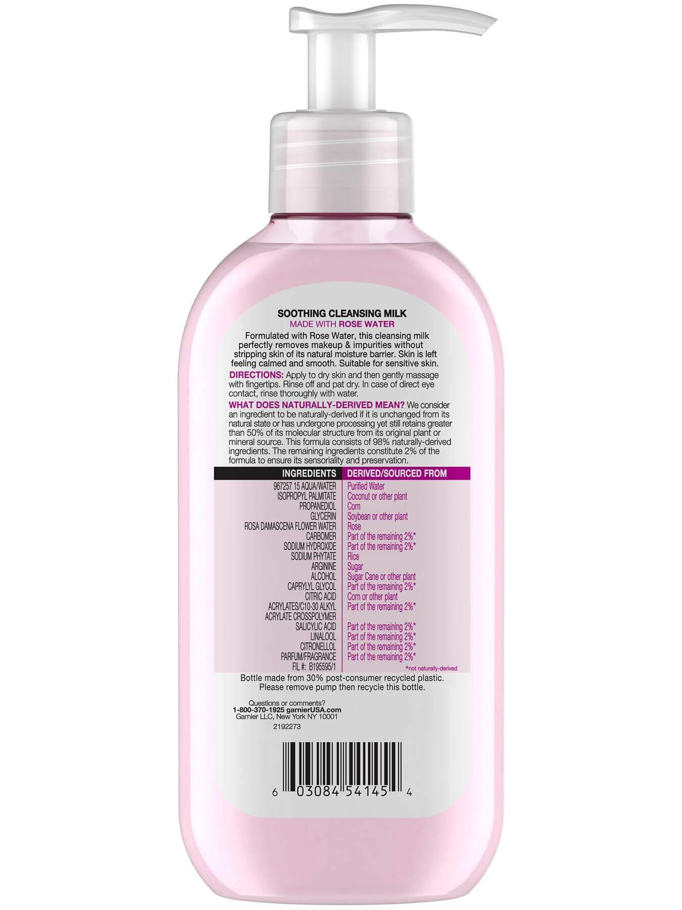 Back view of Soothing Milk Face Wash with Rose Water.