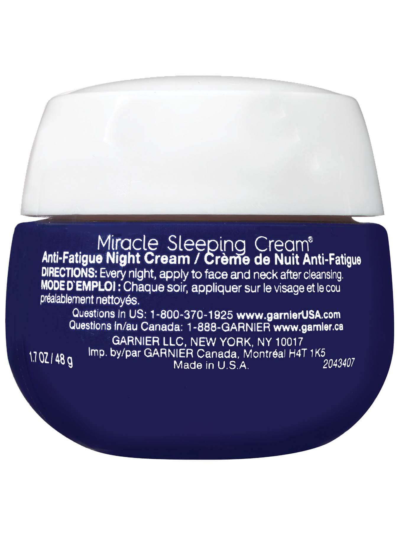 Back view of Ultra Lift Miracle Anti-Fatigue Sleeping Cream.
