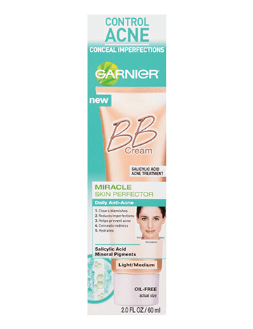 Garnier SkinActive BB Cream package miracle skin perfector bb cream anti acne light medium