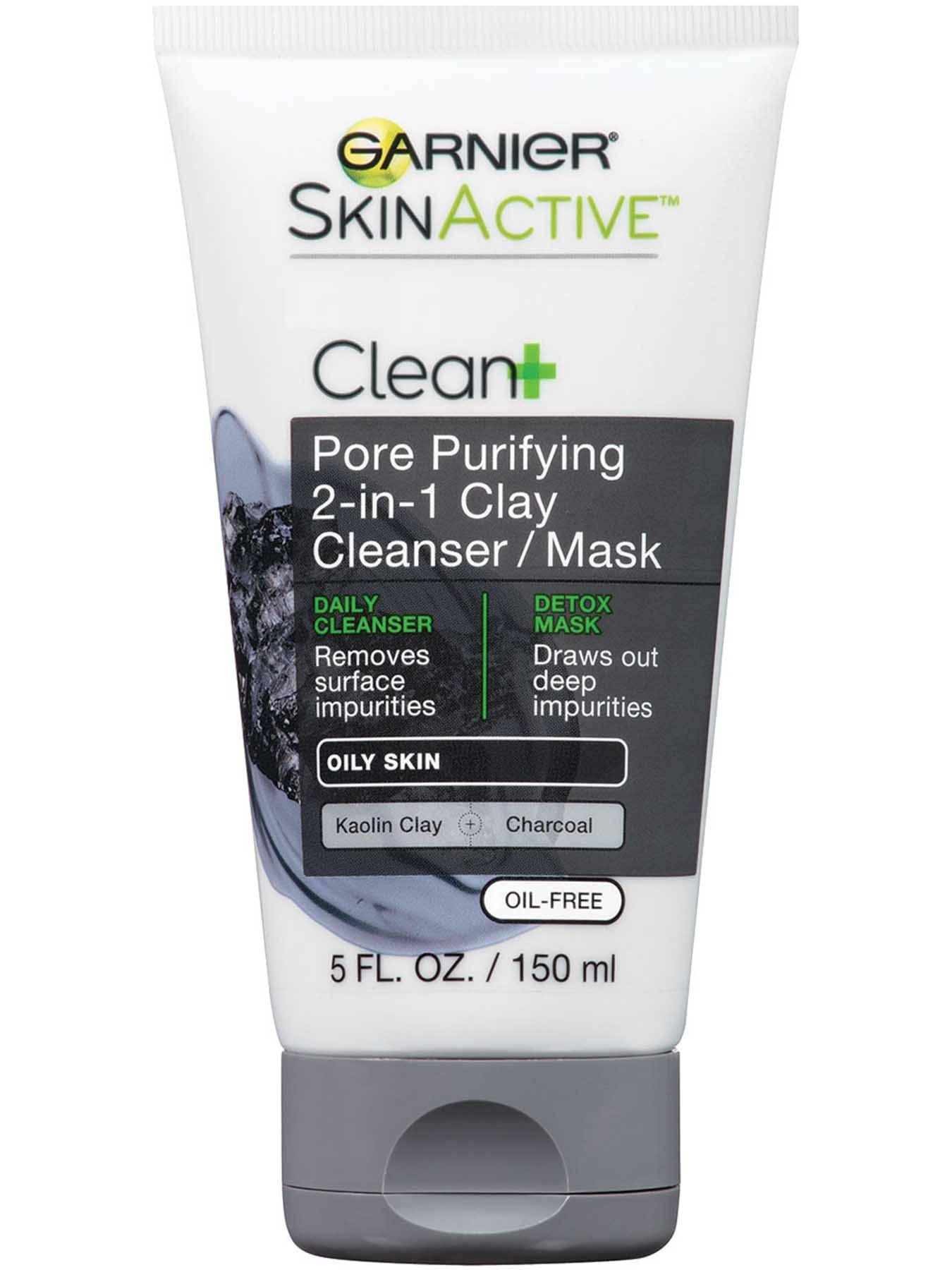 Garnier SkinActive Clean+ Pore Purifying 2-in-1 Clay Cleanser/Mask for Oily Skin - Skin Care Product for Oily Skin
