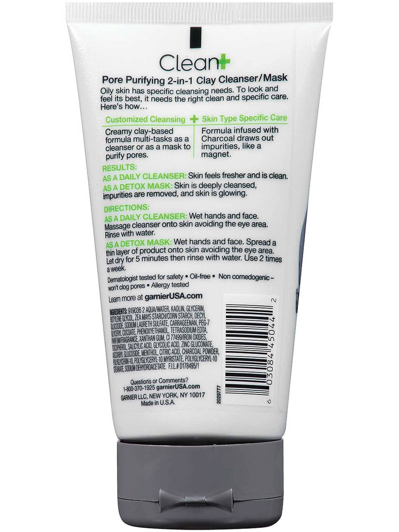 Back view of Clean+ Pore Purifying 2-in-1 Clay Cleanser/Mask, Oily Skin, Oil-Free.