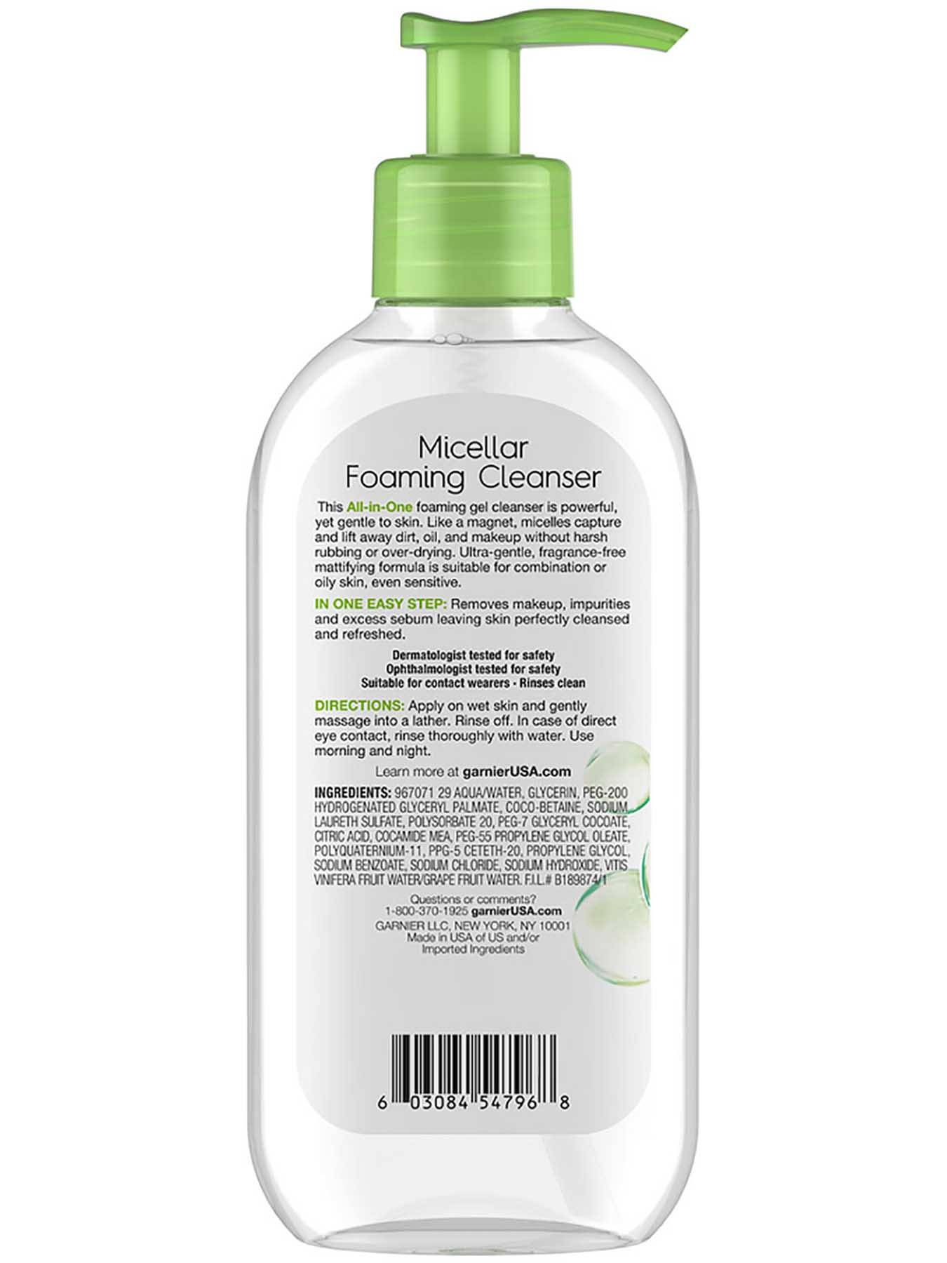Back view of Green Cap Foaming Gel Cleanser for Combination to Oily Skin.
