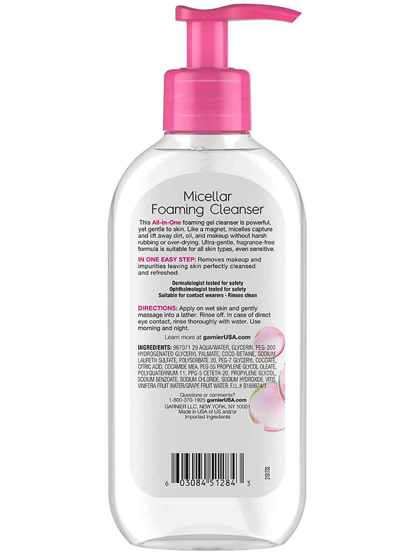 Back view of Pink Cap Foaming Gel Cleanser.