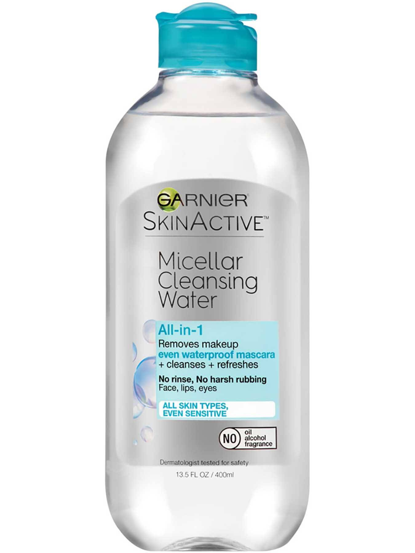 Garnier SkinActive Micellar Cleansing Water All-in-1  Cleanser &  Waterproof Makeup Remover for All Skin Types, Even Sensitive