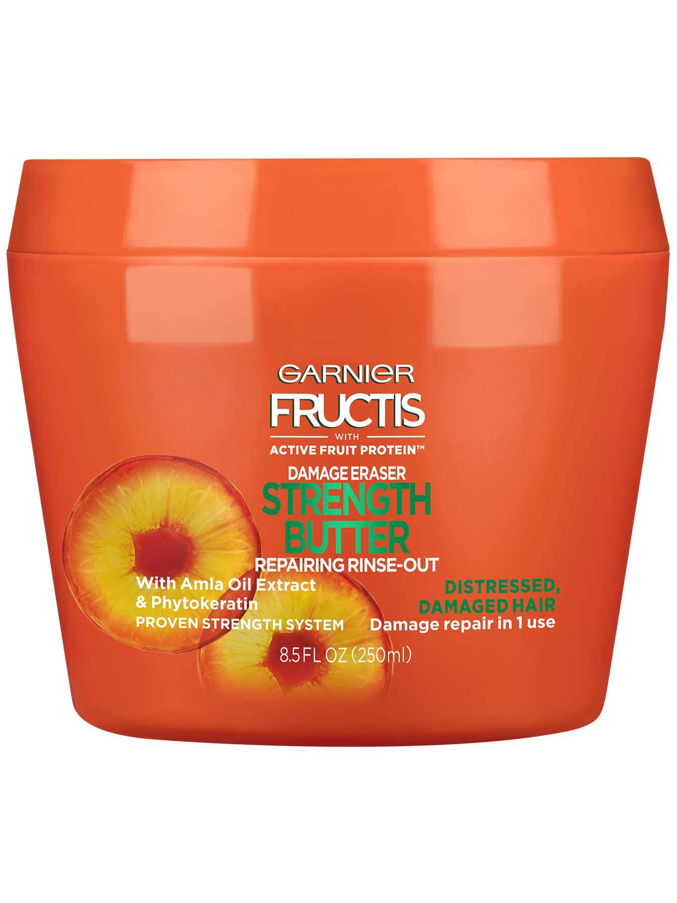 Garnier Fructis Damage Eraser Strength Butter Reconstructing Rinse Out Front Of Bottle