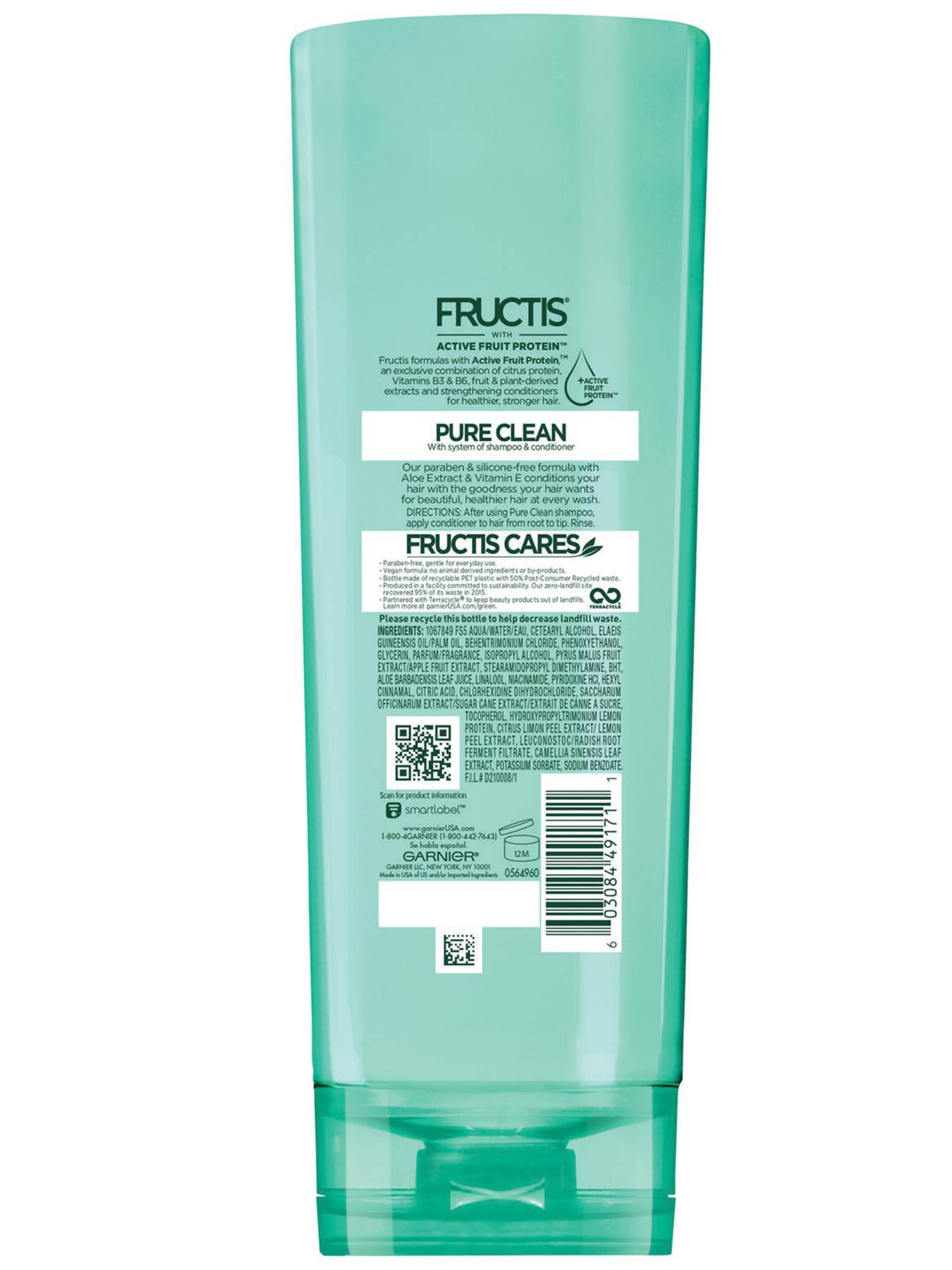 Garnier Fructis Pure Clean Conditioner 12 oz Back