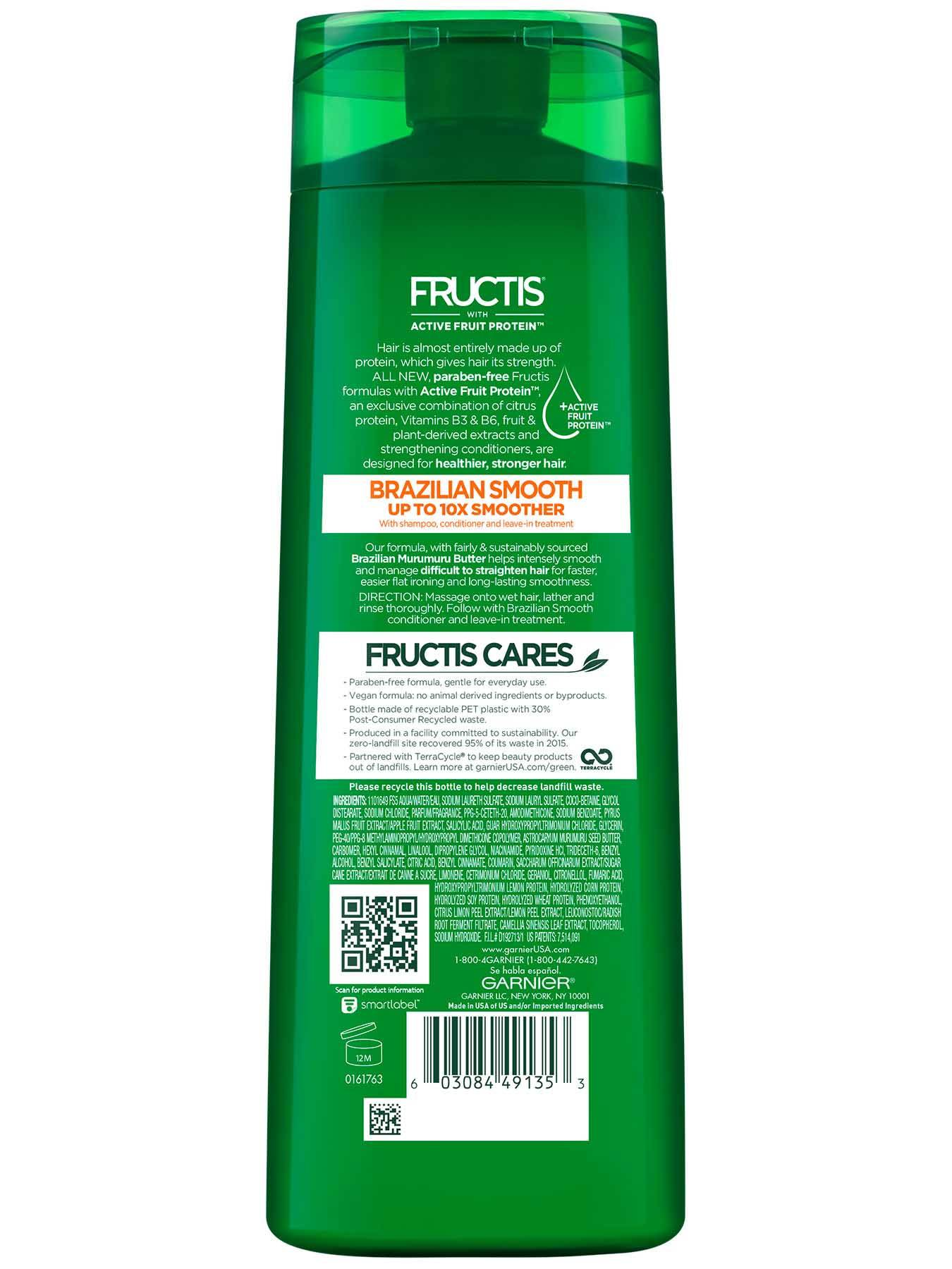 Garnier Fructis Sleek & Shine Brazilian Smooth Shampoo Back Of Bottle