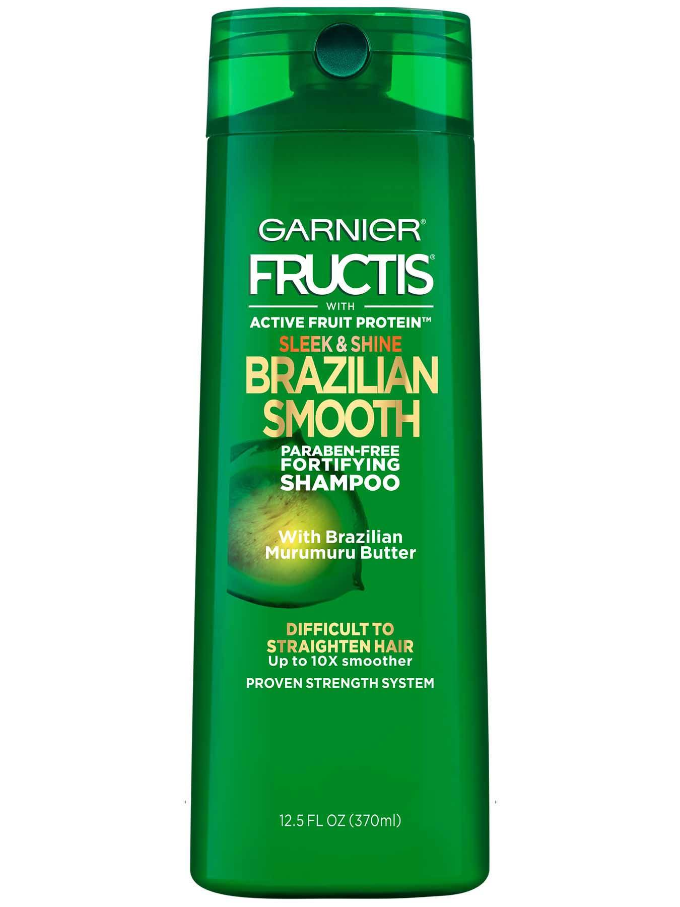 Garnier Fructis Sleek & Shine Brazilian Smooth Shampoo Front Of Bottle