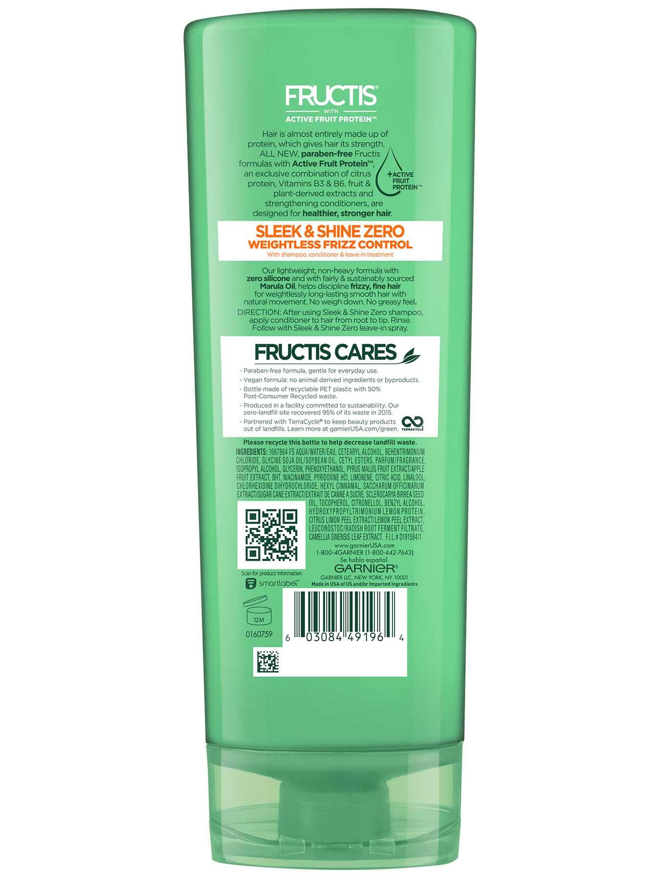 Garnier Fructis Sleek & Shine Zero Conditioner Back Of Bottle