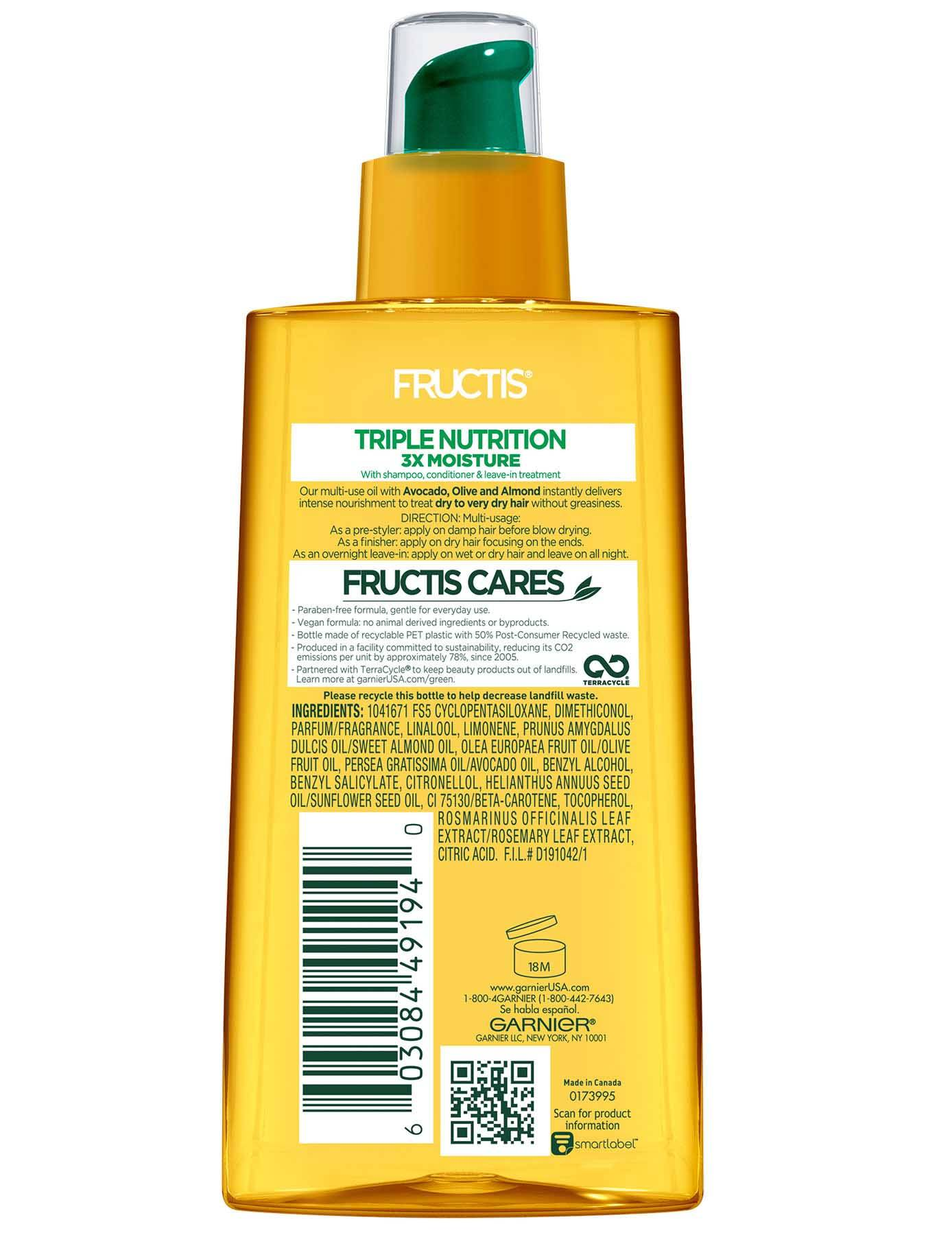 Garnier Fructis Triple Nutrition Marvelous Oil Back Of Bottle