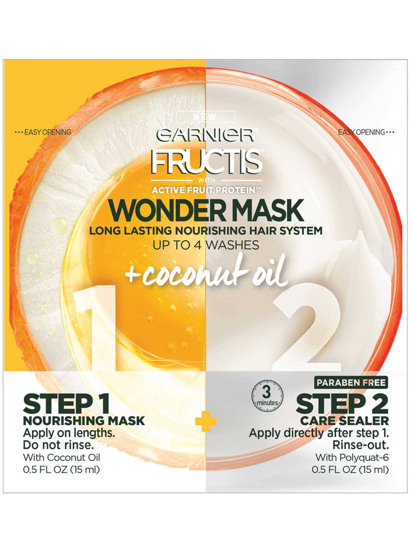 Front view of Wonder Mask with Active Fruit Protein Plus Coconut Oil.