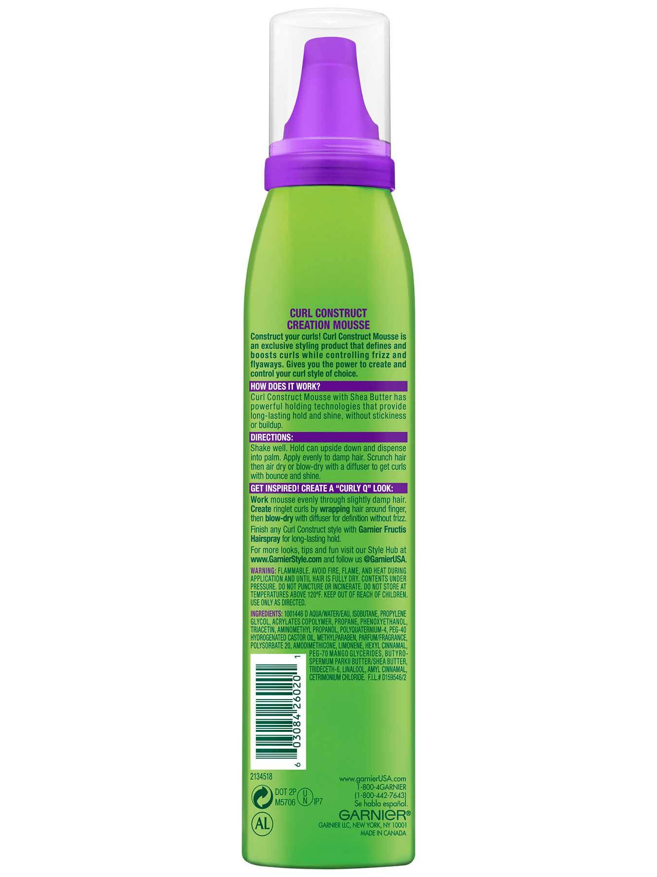 Garnier Fructis Style Curl Construct Creation Mousse Back Of Bottle