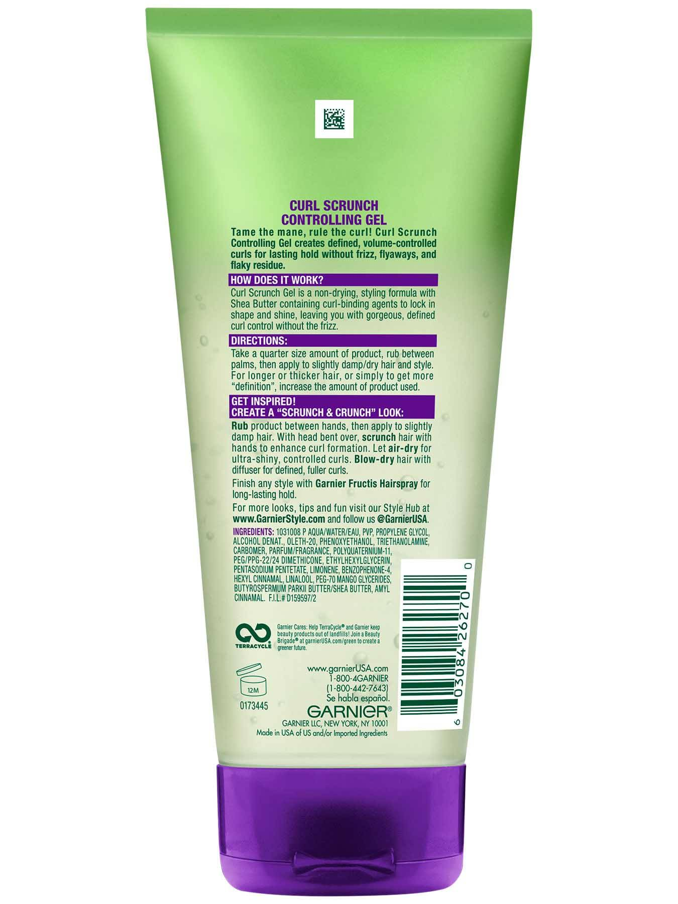 Garnier Fructis Style Curl Scrunch Controlling Gel Back Of Bottle