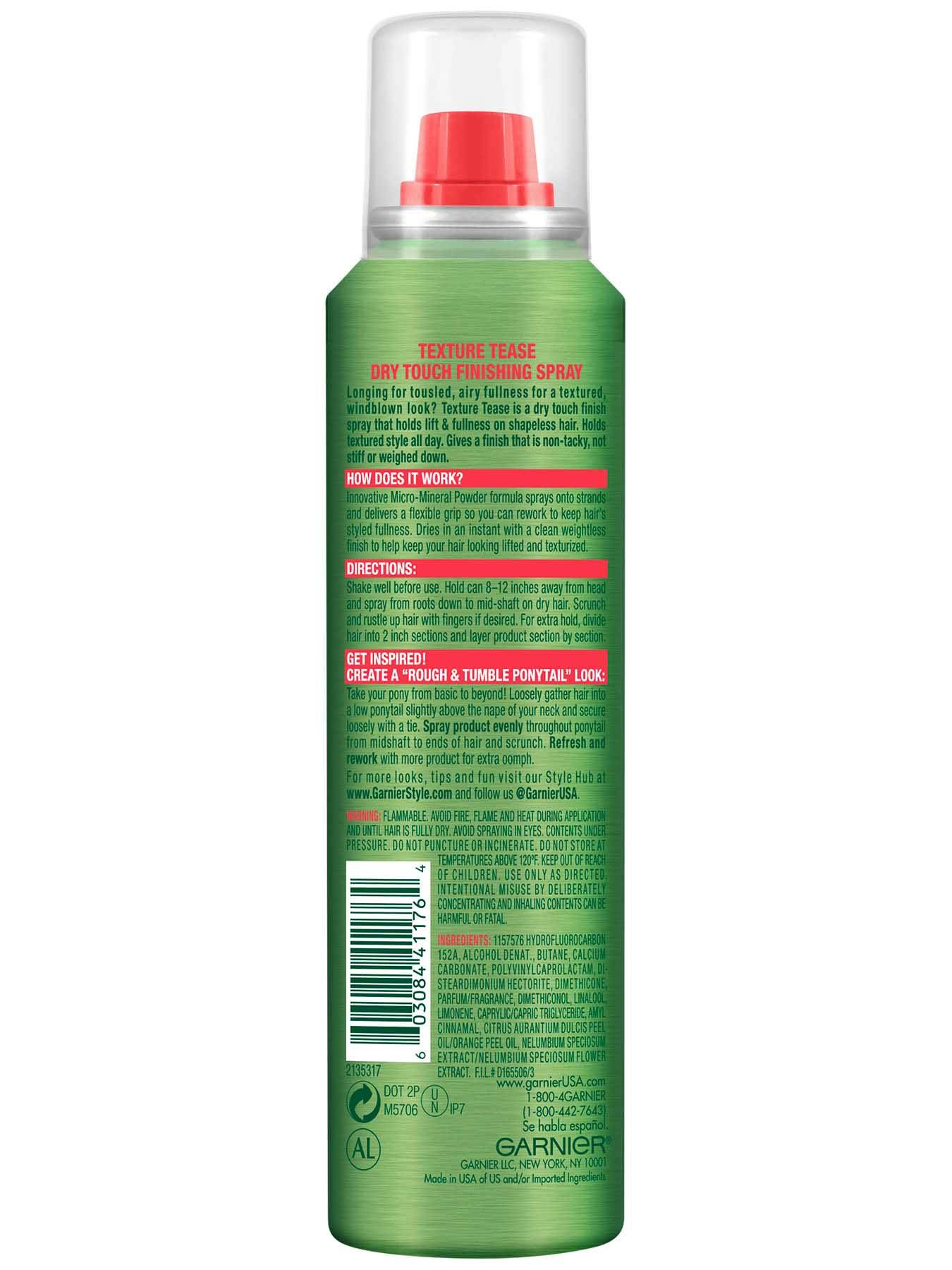 Garnier Fructis Style Texture Tease Finishing Spray Back