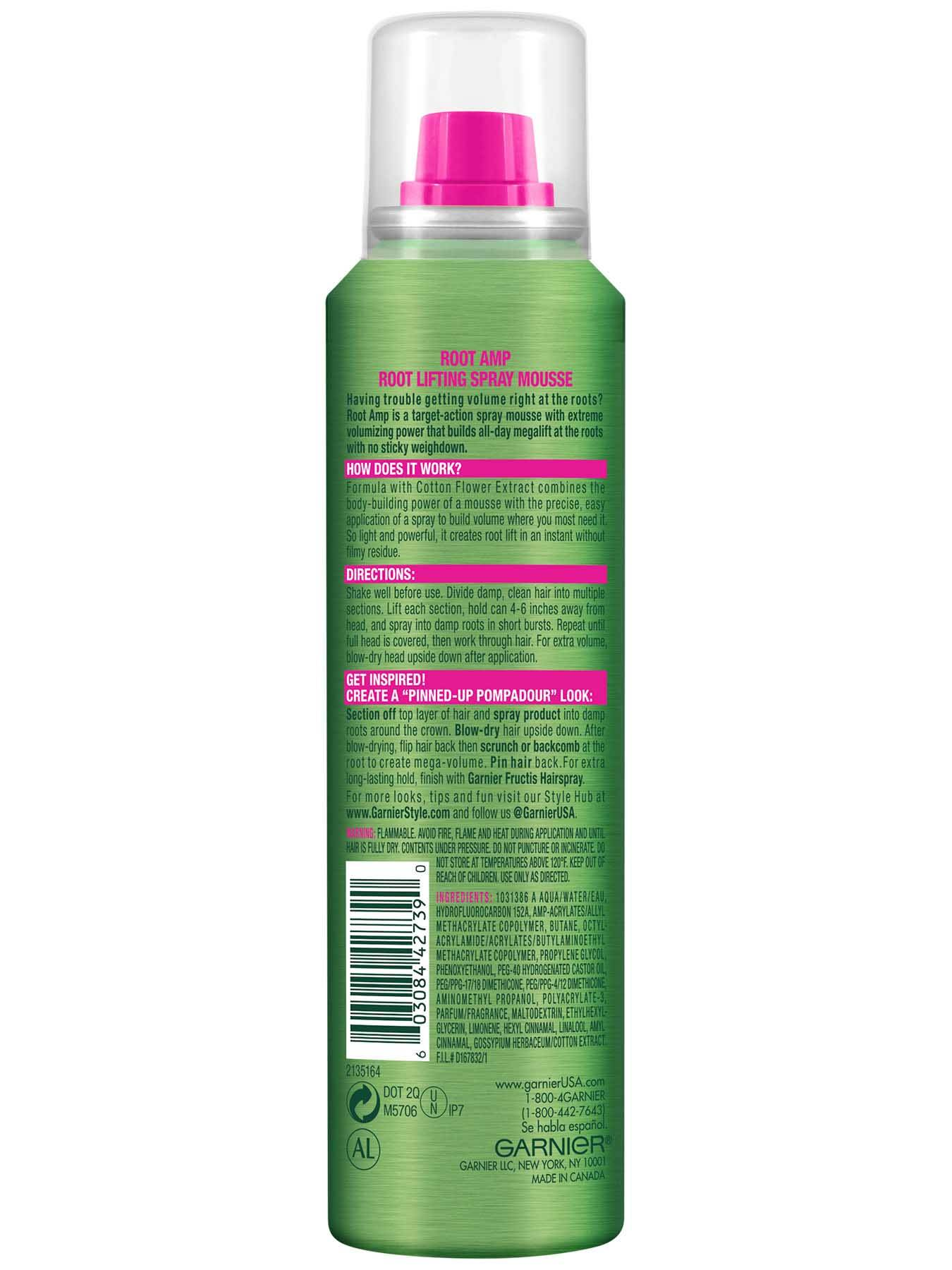 Back view of Root Amp Root Lifting Spray Mousse.