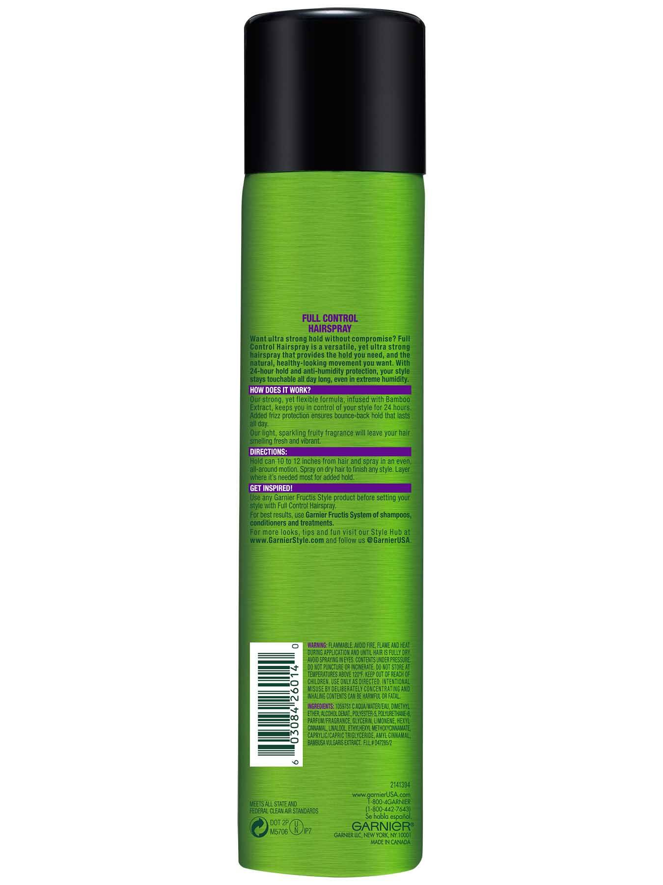 Garnier Fructis Style Full Control Hairspray Back Of Bottle