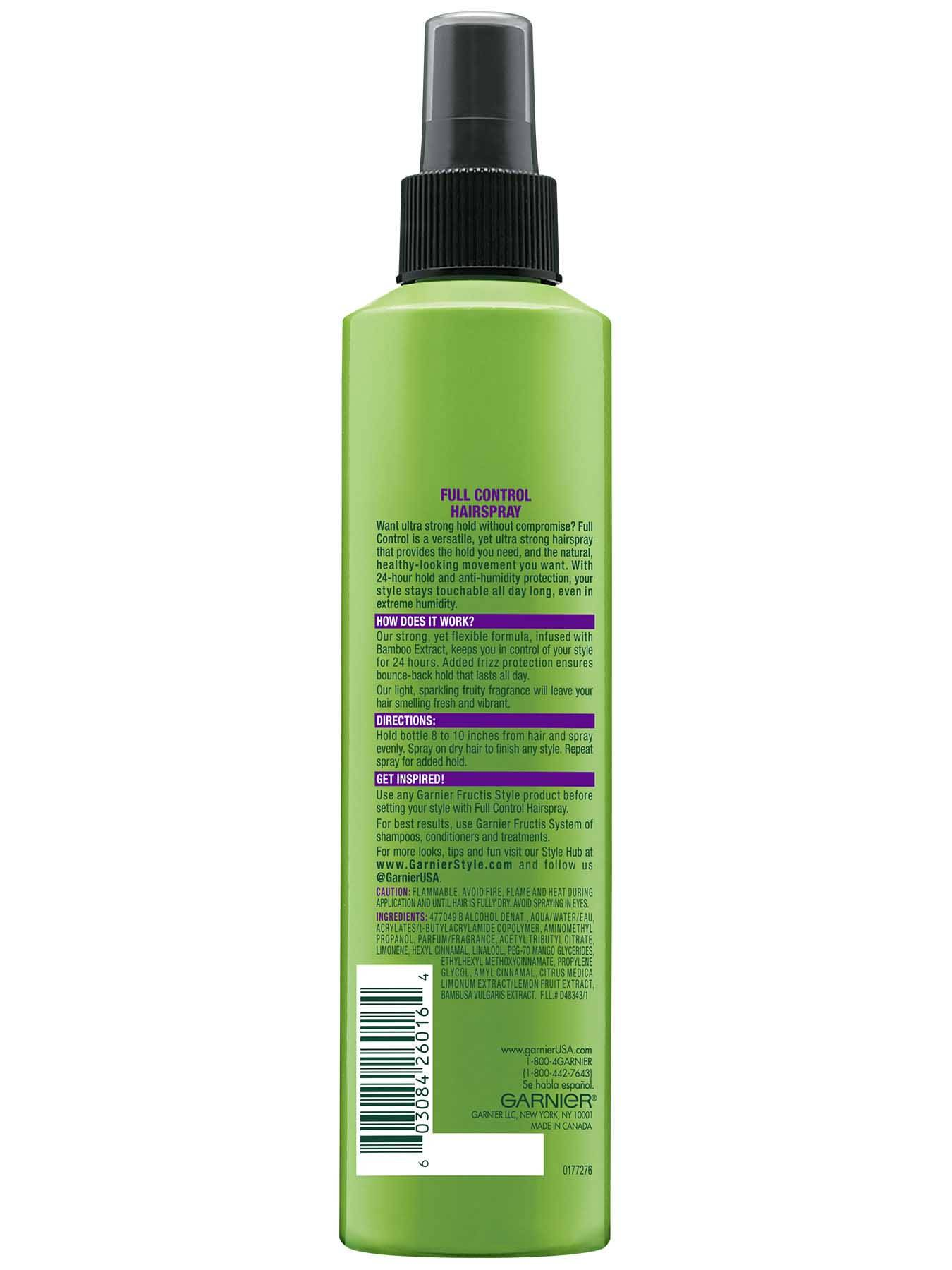 Back view of Full Control Anti-Humidity Non Aerosol Hairspray.