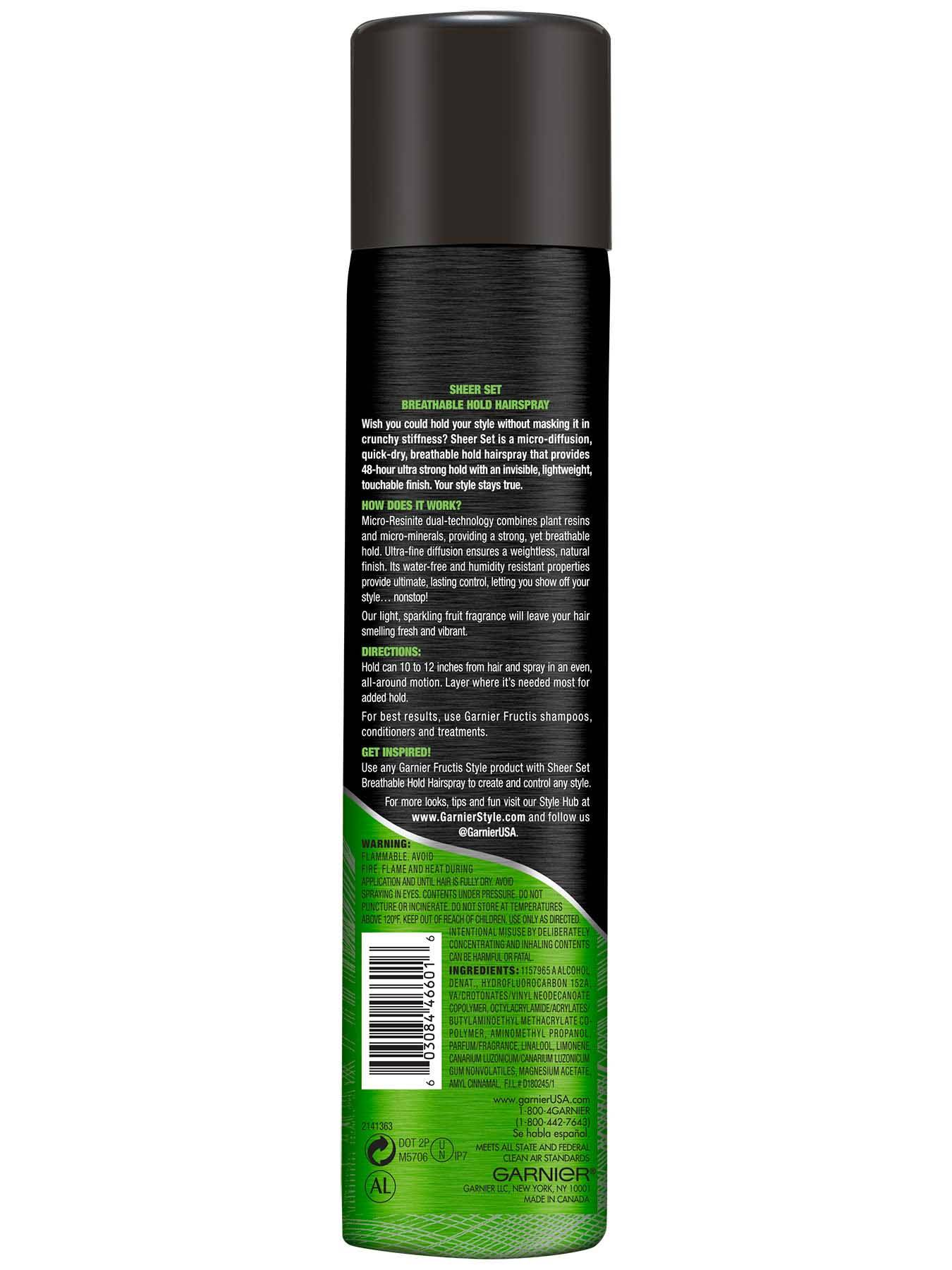 Back view of Sheer Set Ultra Strong Hold Breathable Hairspray.