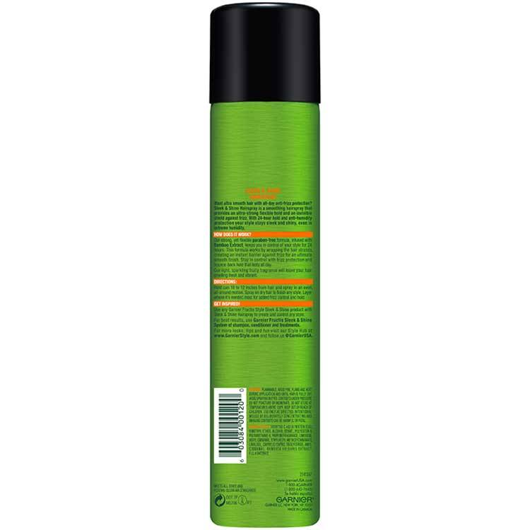 Garnier Fructis Style Sleek and Shine Anti-Humidity Hairspray back of pack