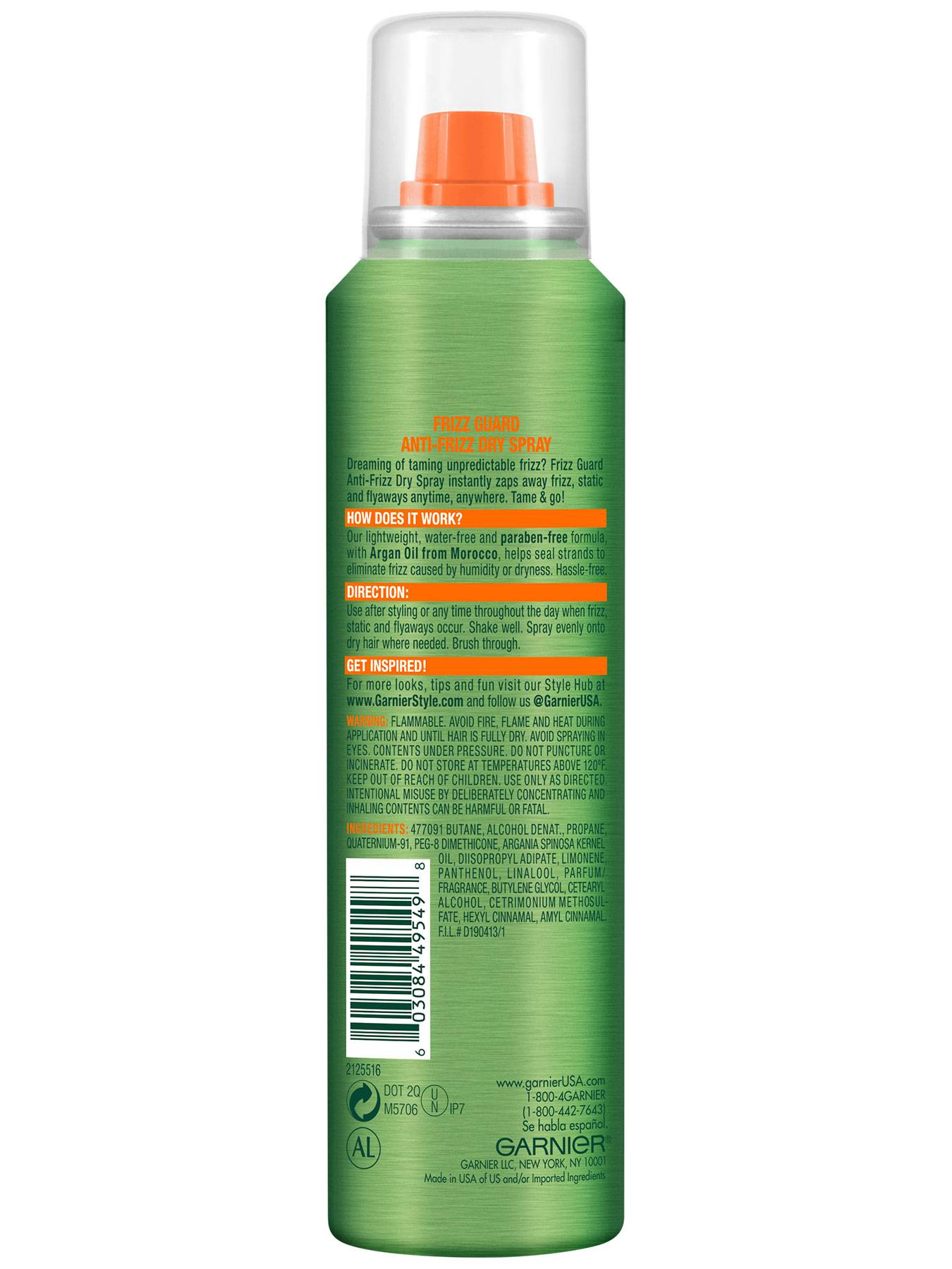 Back view of Frizz Guard Anti-Frizz Dry Spray.