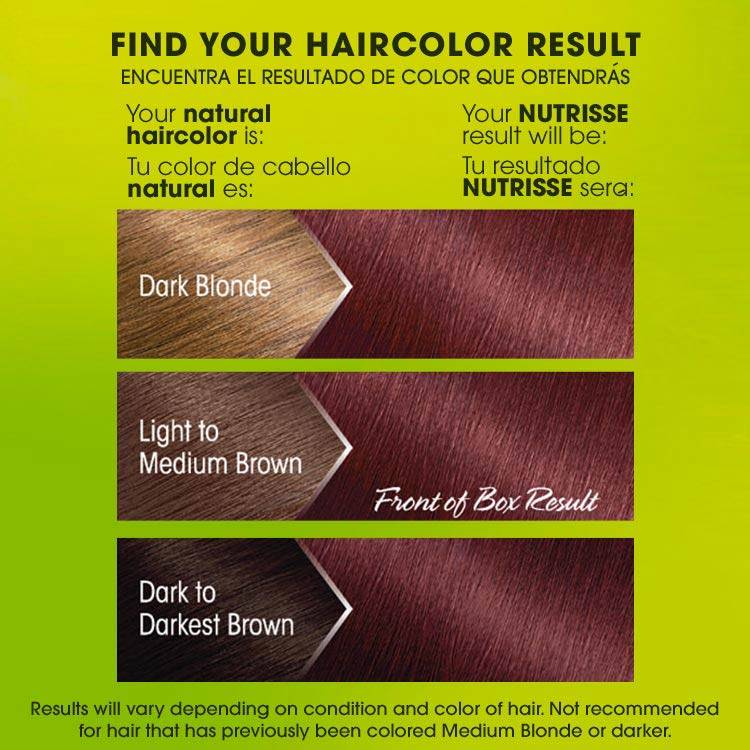 Nutrisse 56 medium reddish brown before after swatch